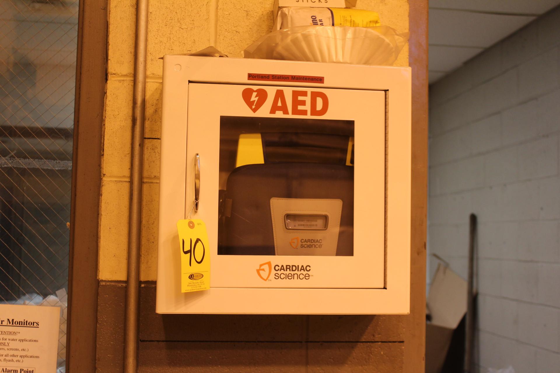 CARDIAC SCIENCE AED DEFIBRILLATOR W/ CABINET