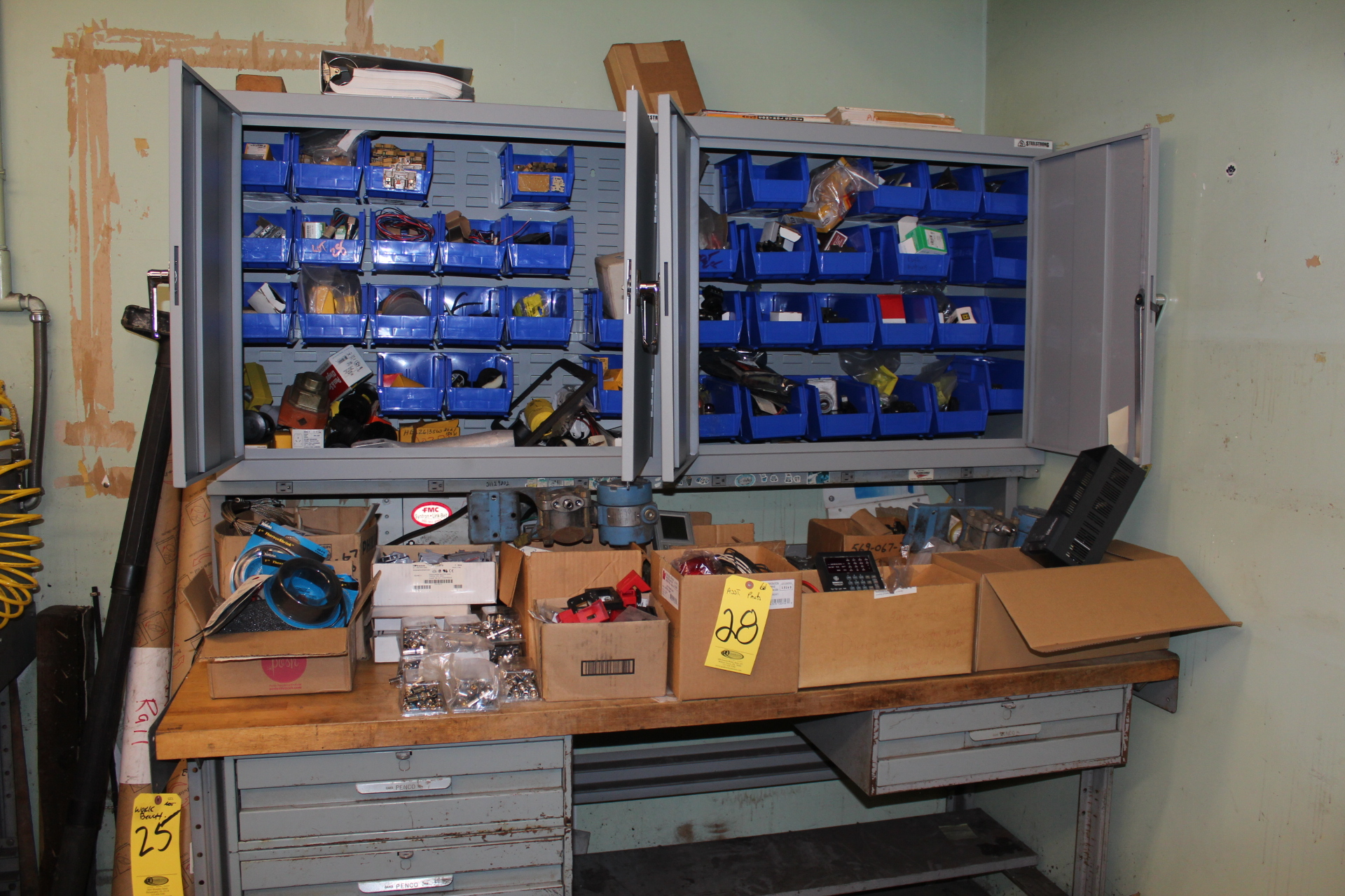 CONTENTS ON BENCH IN CABINETS & 2-DD SUPPLY CABINETS ON BENCH