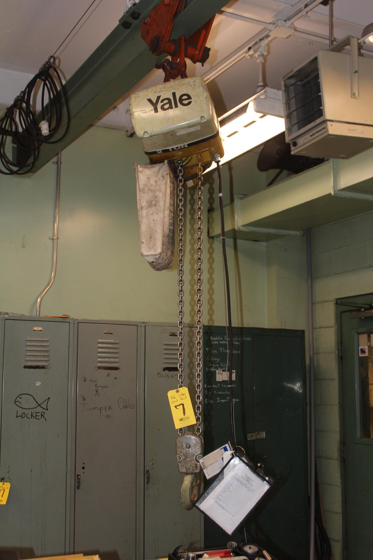 YALE 2-TON ELECTRIC HOIST W/ TROLLEY