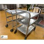 2 tubular framed 3-tier Serving Trolleys (located in Main Kitchen, Basement) **** please note this
