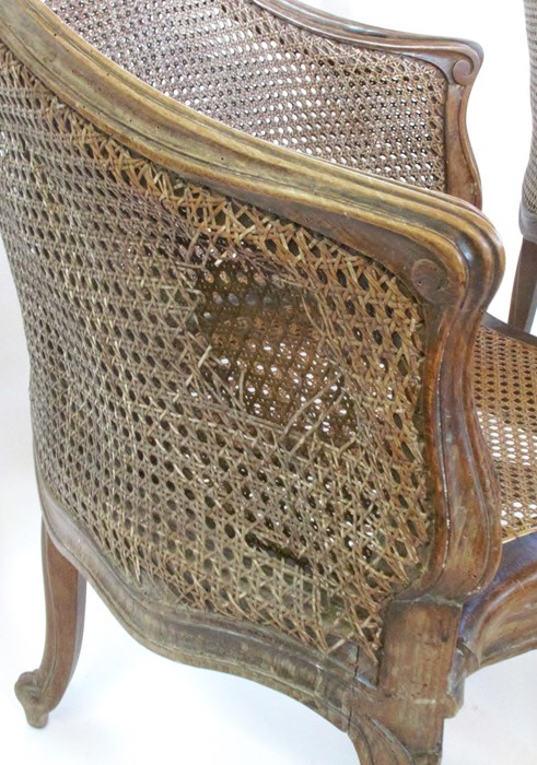 A set of seven bergere dining chairs, with shaped front rail, raised on craved scroll legs - Image 3 of 5