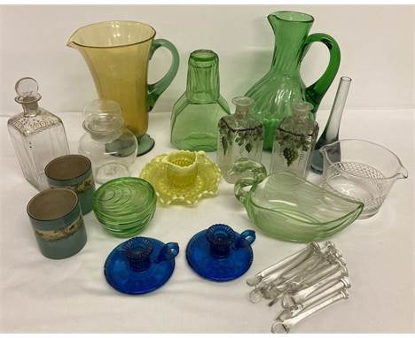 A collection of vintage glass ware. To include blue candlesticks and green Art Decco style carafe.  Together with a small yel