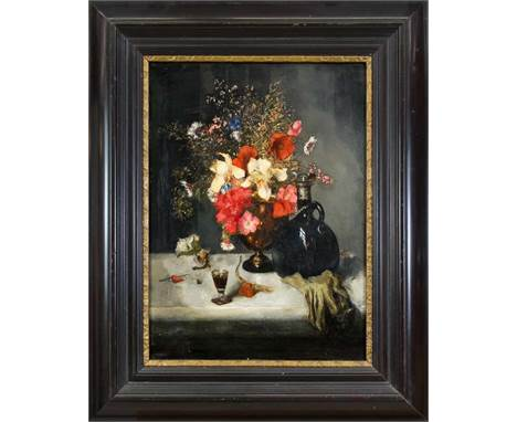 Unidentifizierter Maler des 19. Jh., Stillleben mit Blumen und Glaskaraffe, Öl auf Lwd., unsign., verso ausführliche Notation