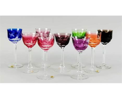 Sechs und drei Weingläser, Moser, 20. Jh., 2 verschiedene Formen, jeweils runder Stand, schlanker Schaft, geschweifte Kuppa,