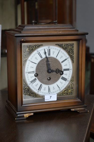A German mantel clock, by Martime, silvered chapter ring ...