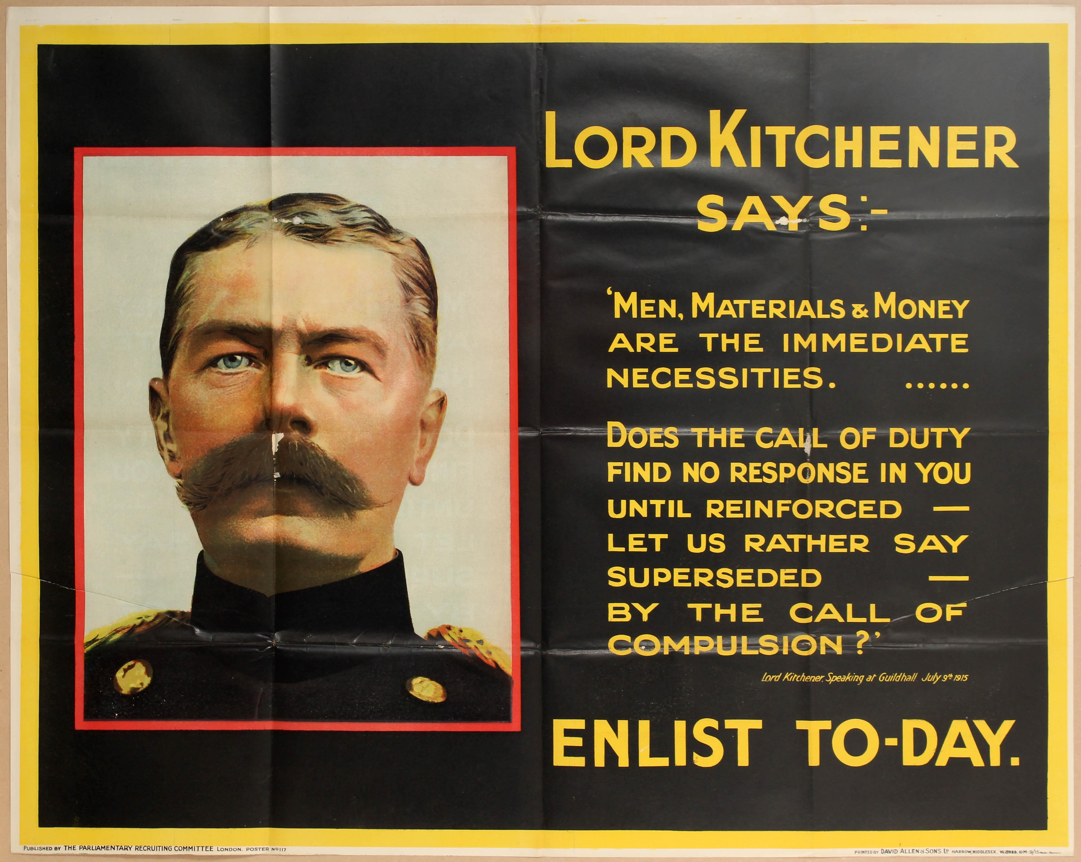 Lot 4112 - Propaganda poster WWI UK Recruitment Lord Kitchener