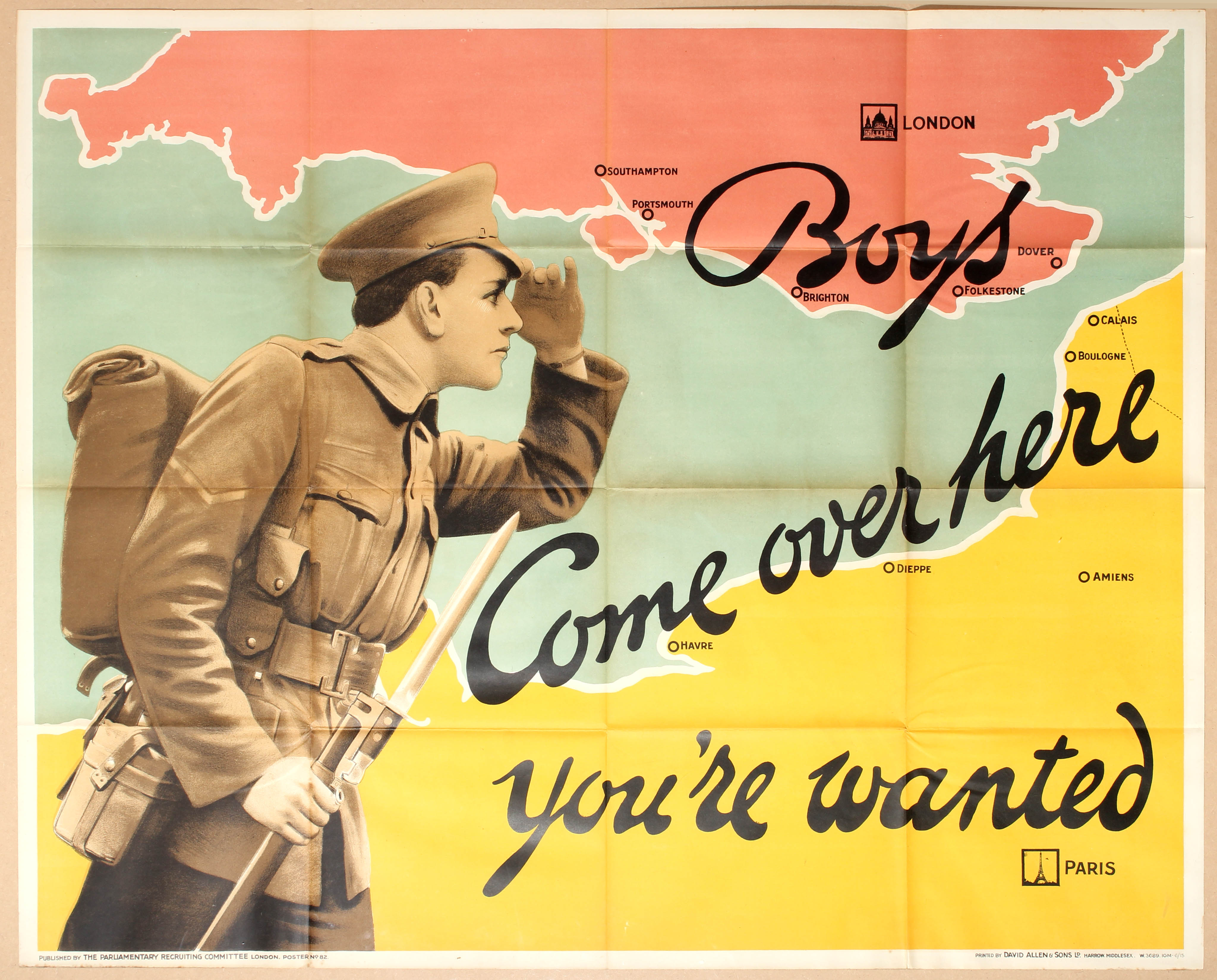 Lot 4113 - Propaganda poster Boys Come over here you're wanted