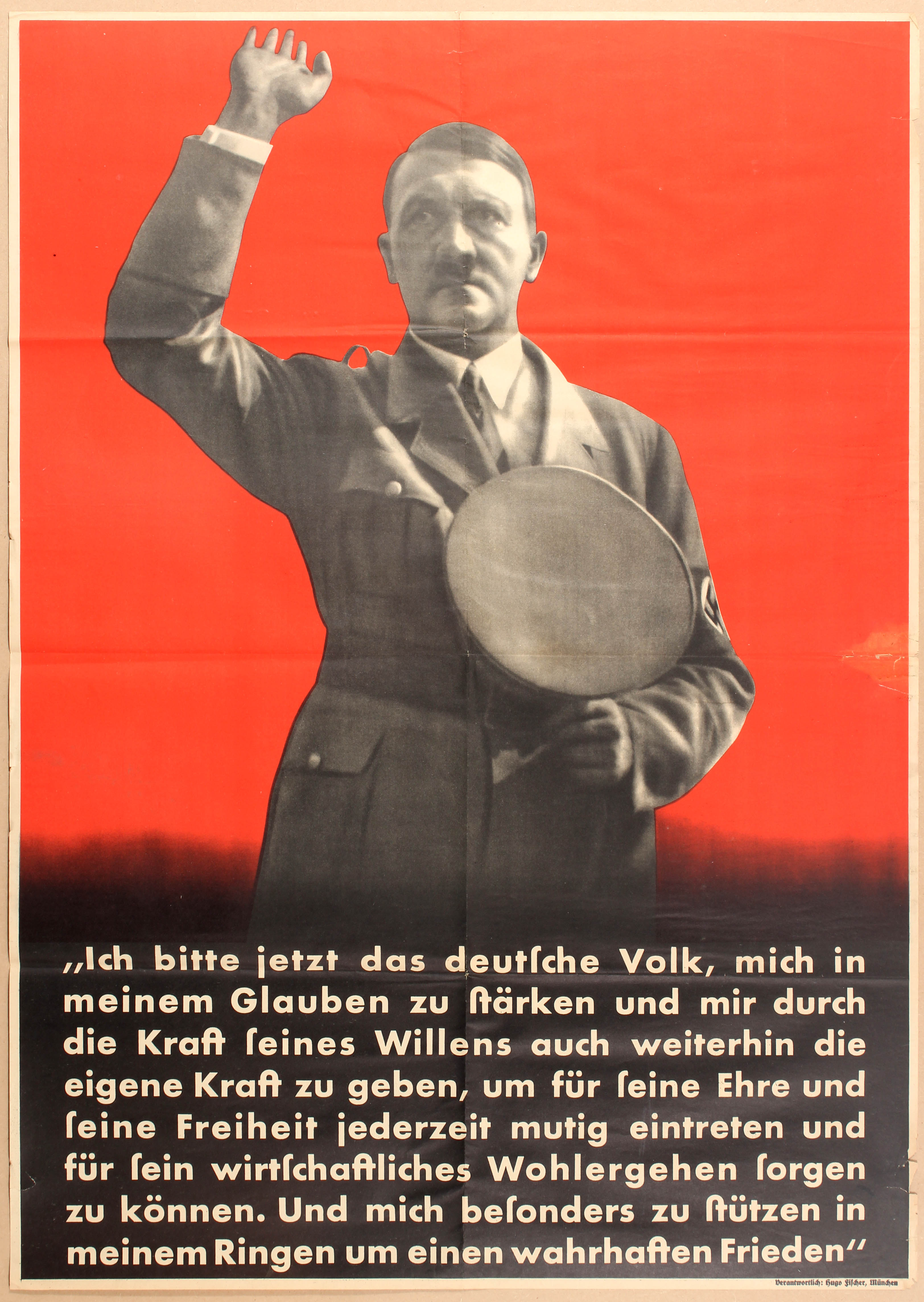 Lot 4305 - Pre WWII Nazi Propaganda poster Hitler I now call the German people