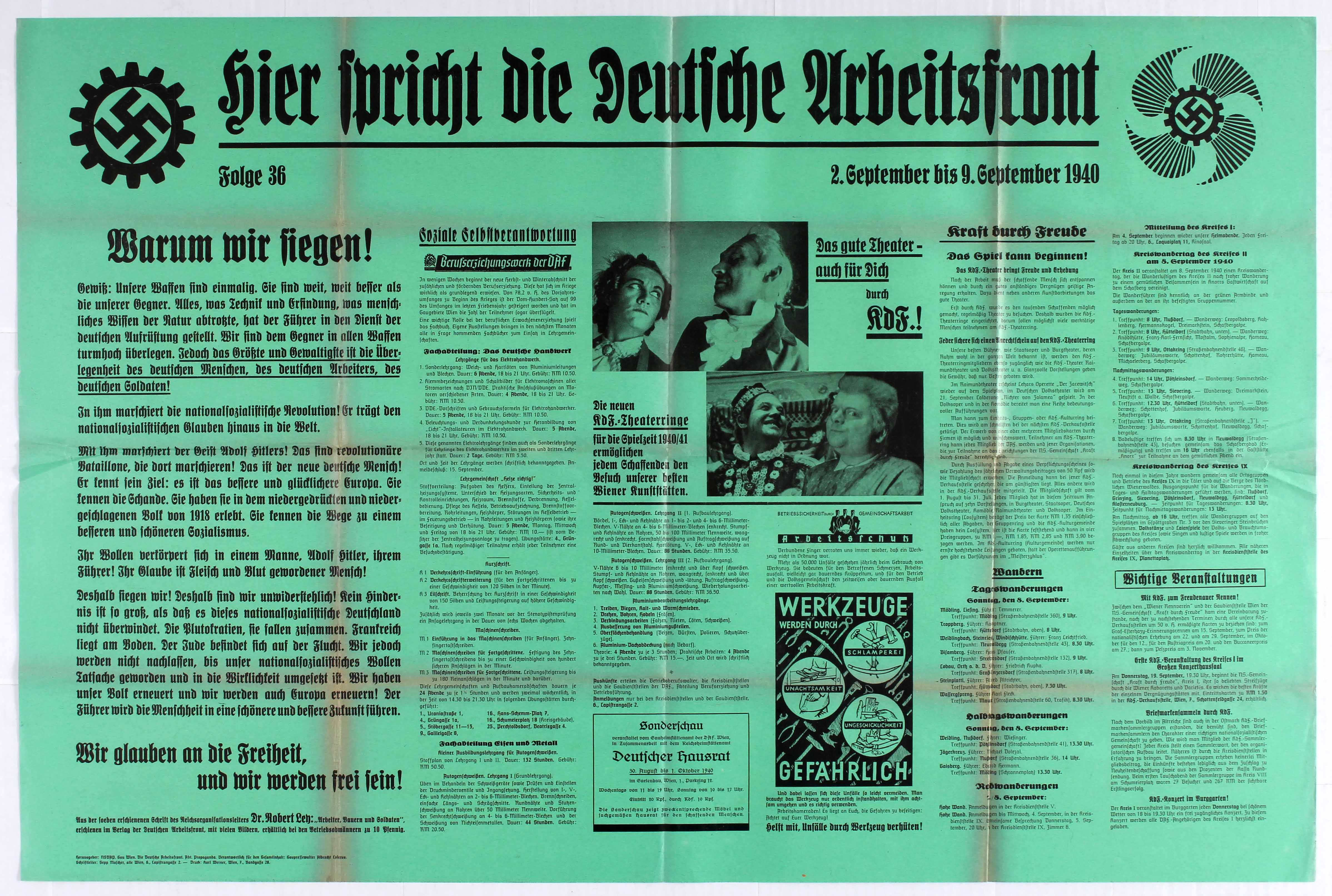 Lot 4401 - Nazi Propaganda poster - The Voice of the German Labour Front - Wall Newspaper - Episode 36