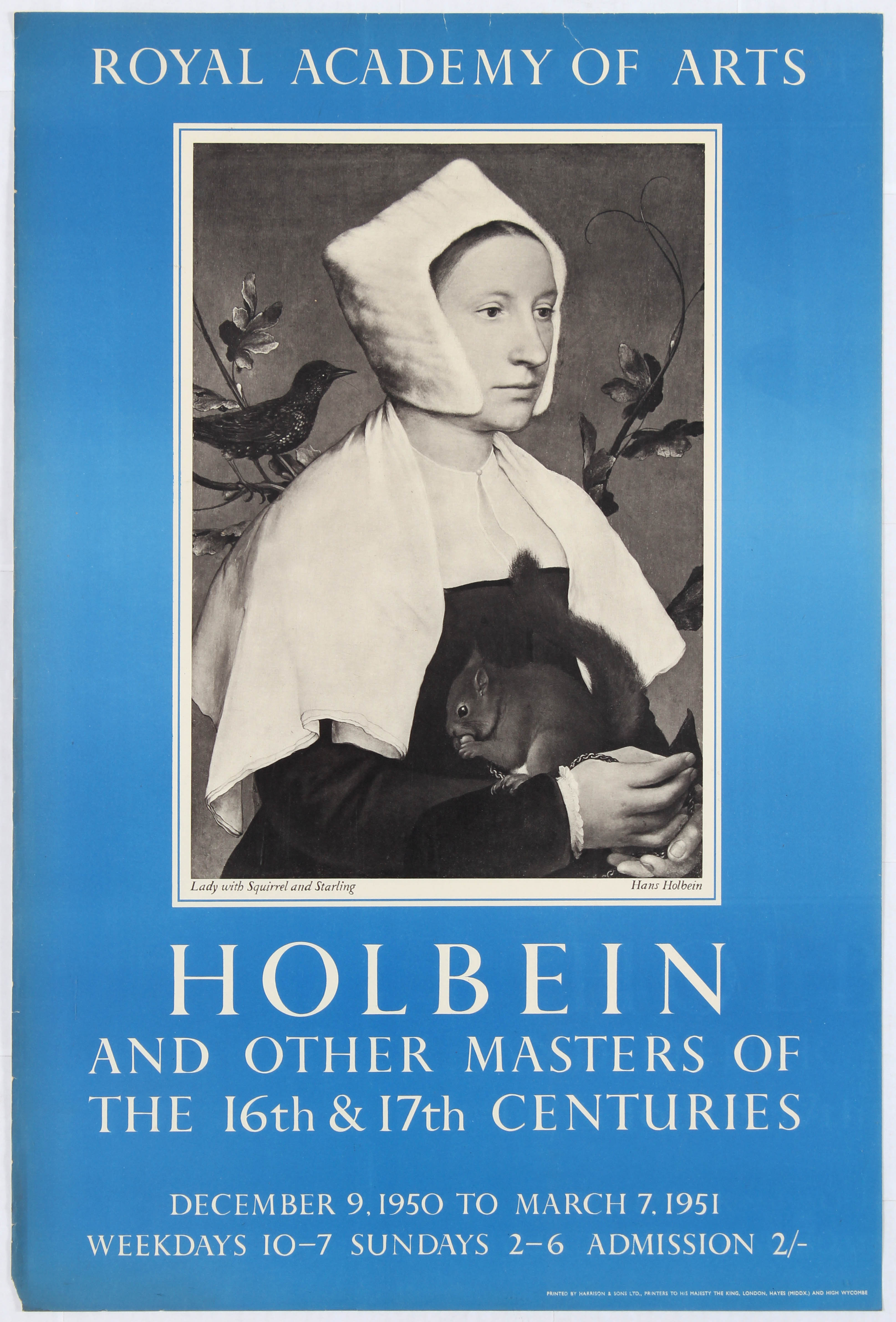 Advertising Poster Royal Academy of Arts Holbein and other Masters of the 16th & 17th Century.