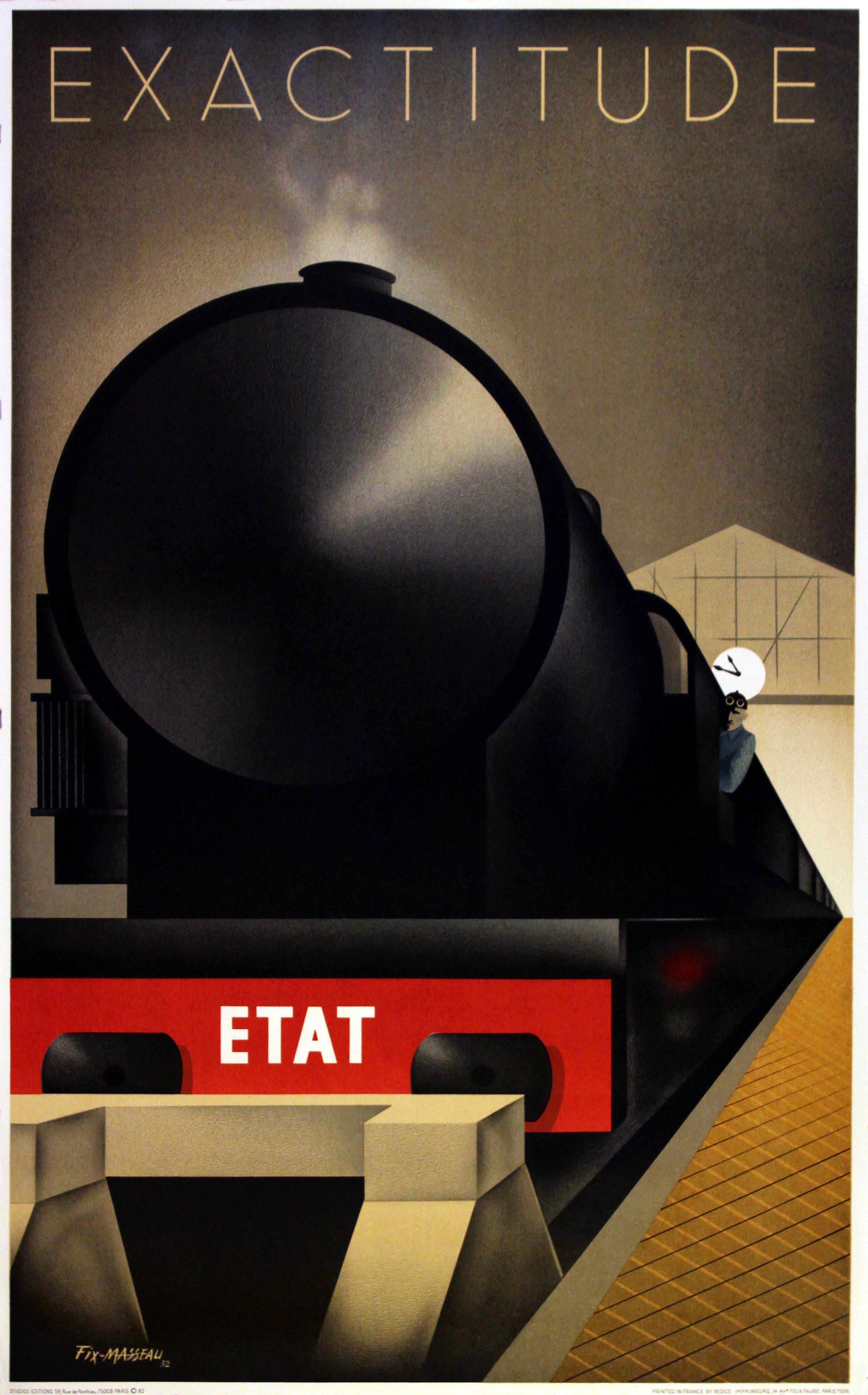 Lot 1806 - Steam Train Railway Poster Art Deco Fix Masseau