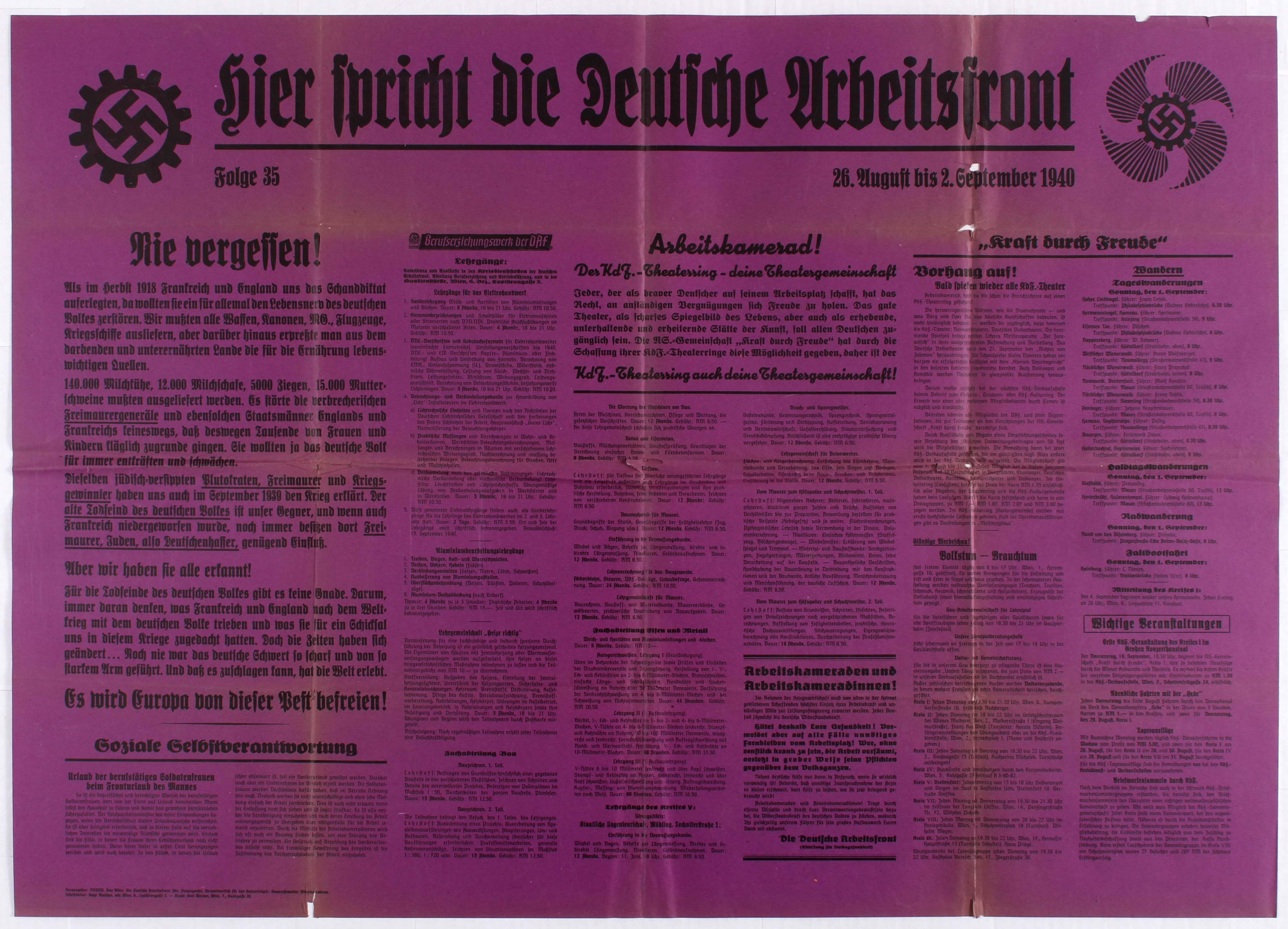 Lot 4402 - Nazi Propaganda poster - The Voice of the German Labour Front - Wall Newspaper - Episode 35