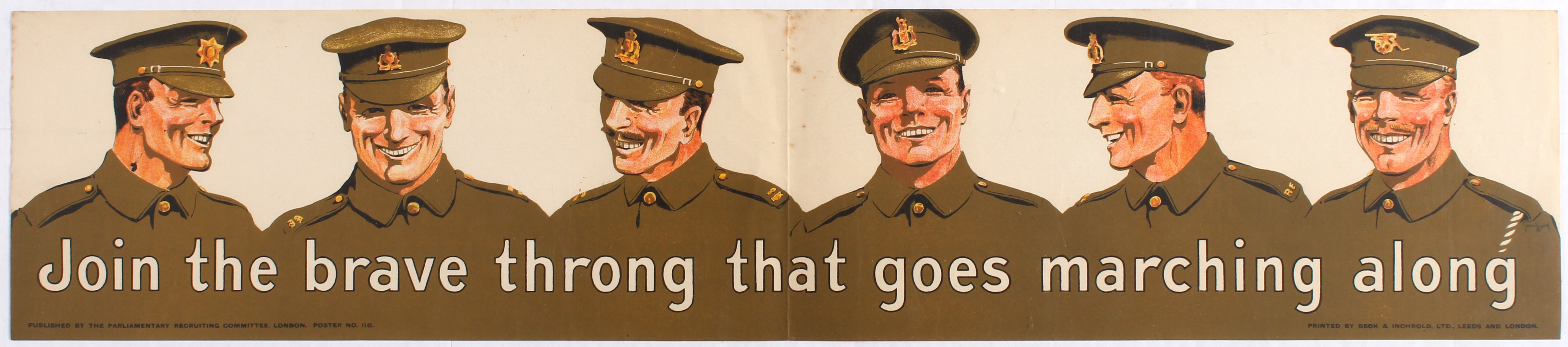 Lot 4106 - War Propaganda WWI poster Join the brave throng that goes marching along (small).