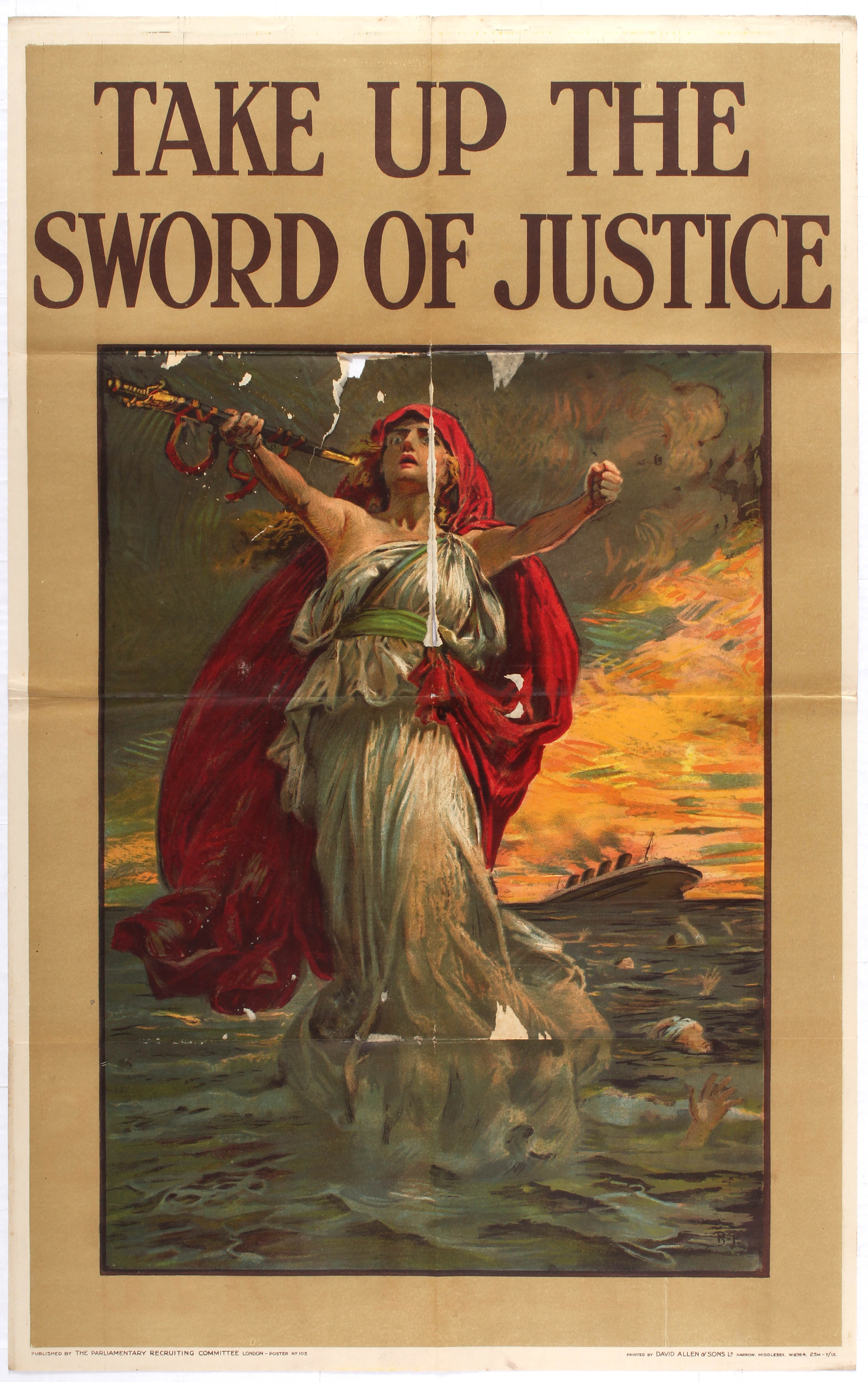 Lot 4107 - War Propaganda WWI poster Take up the Sword of Justice