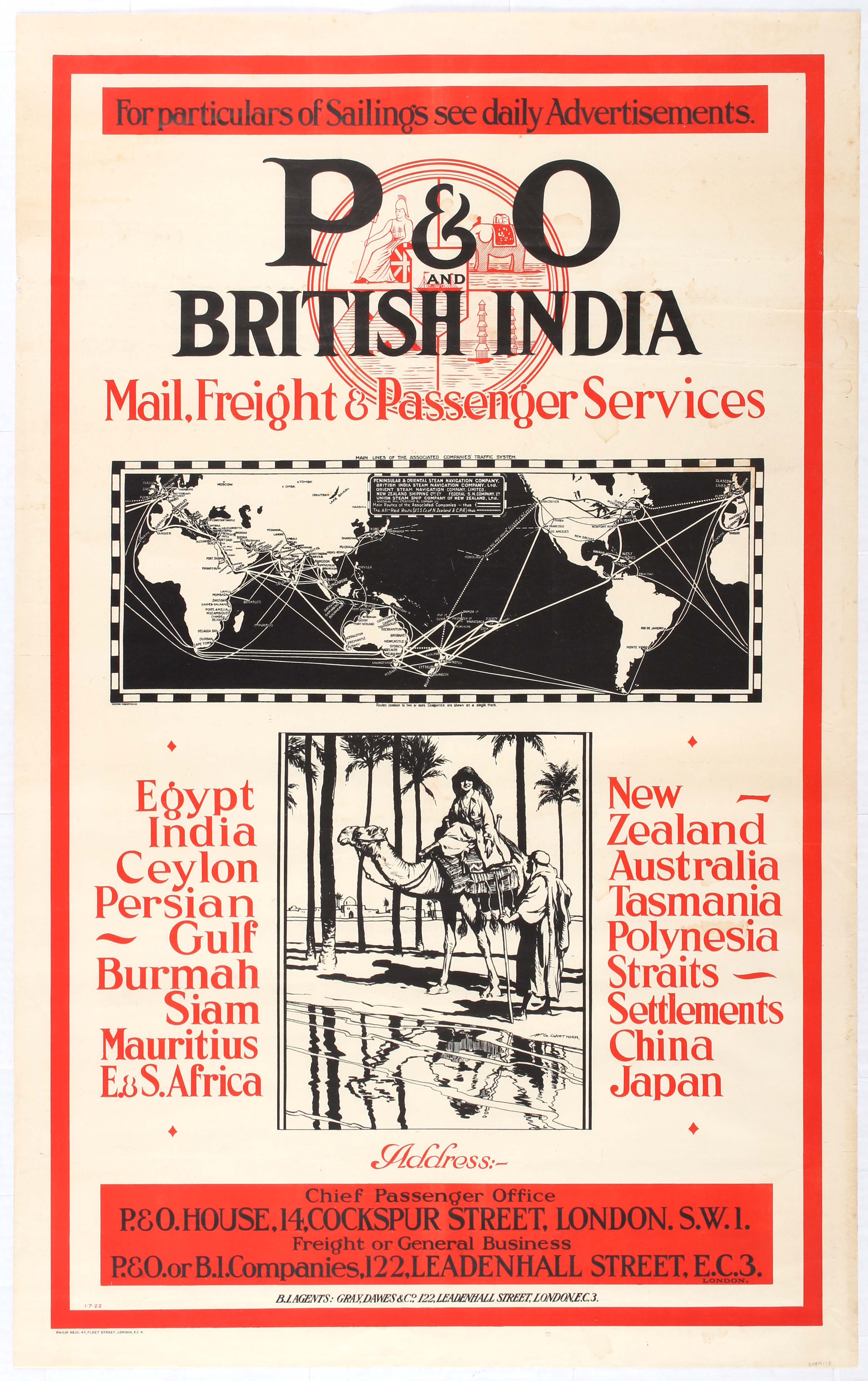 Lot 2201 - Travel Poster P&O and British India Mail, Freight & Passenger Services