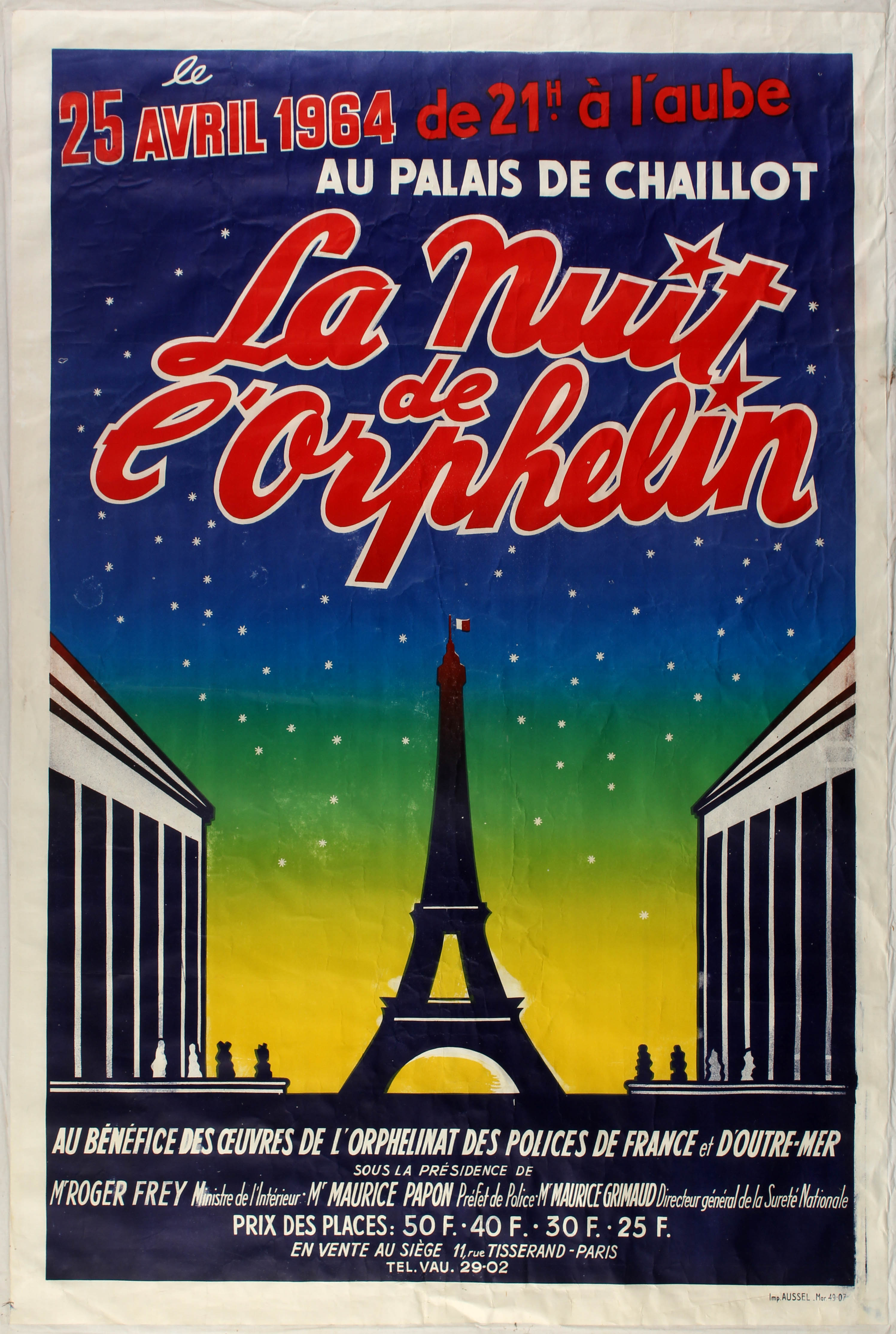 Lot 1622 - Advertising Poster Charity Event Poster Eiffel Tower Paris
