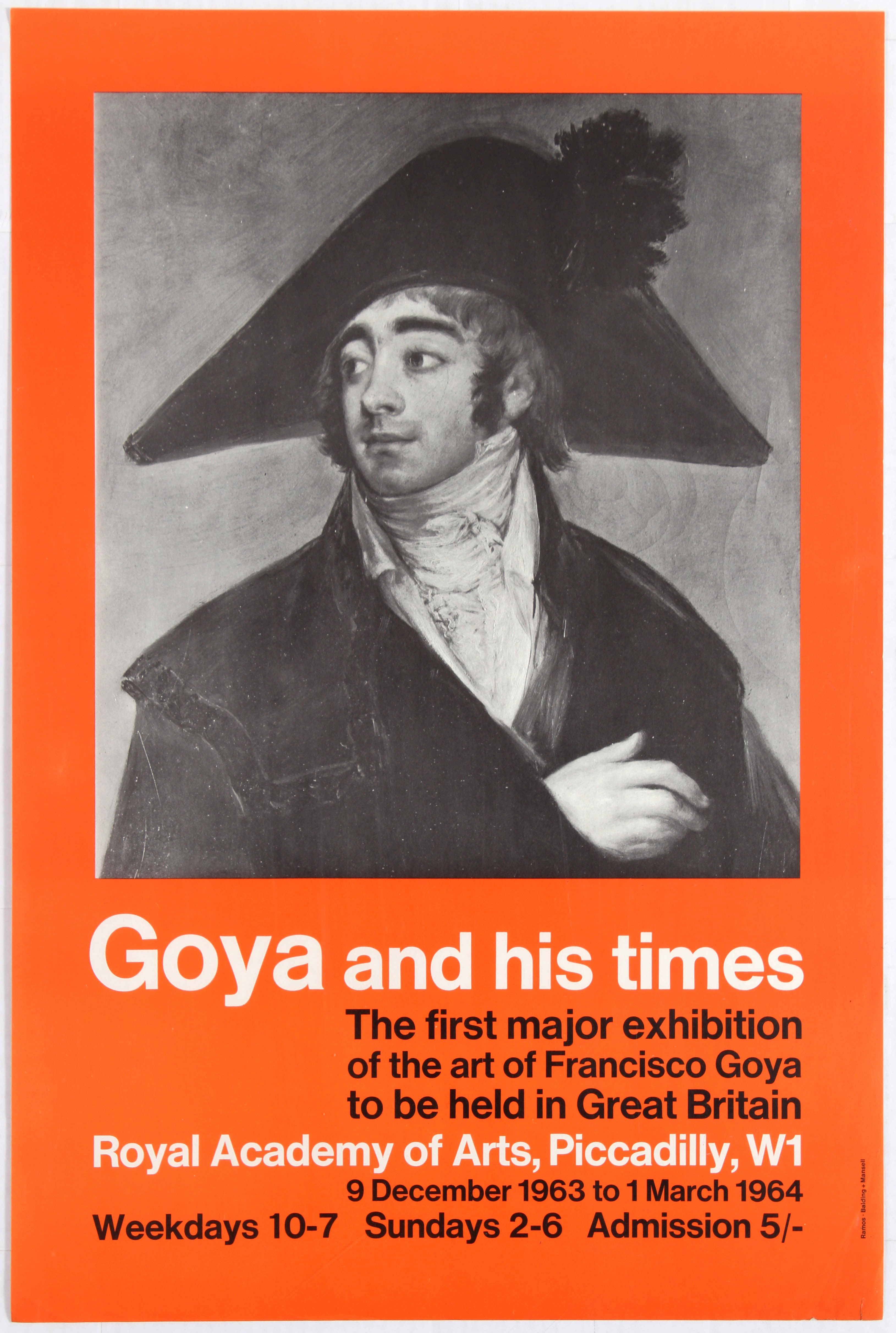 Advertising Poster Royal Academy of Arts Goya and his times.