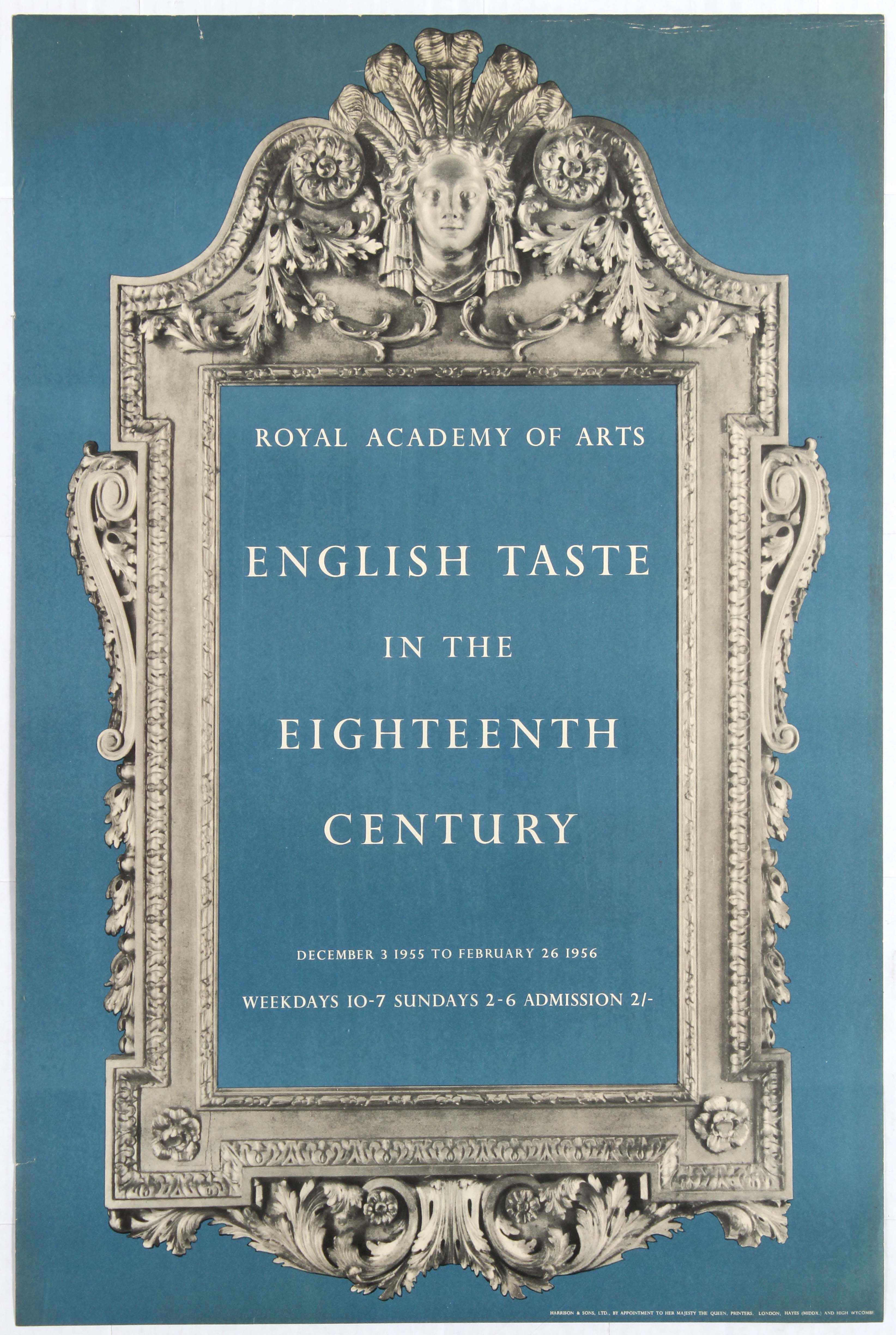 Lot 1510 - Advertising Poster Royal Academy of Arts English Taste in the Eighteenth Century.