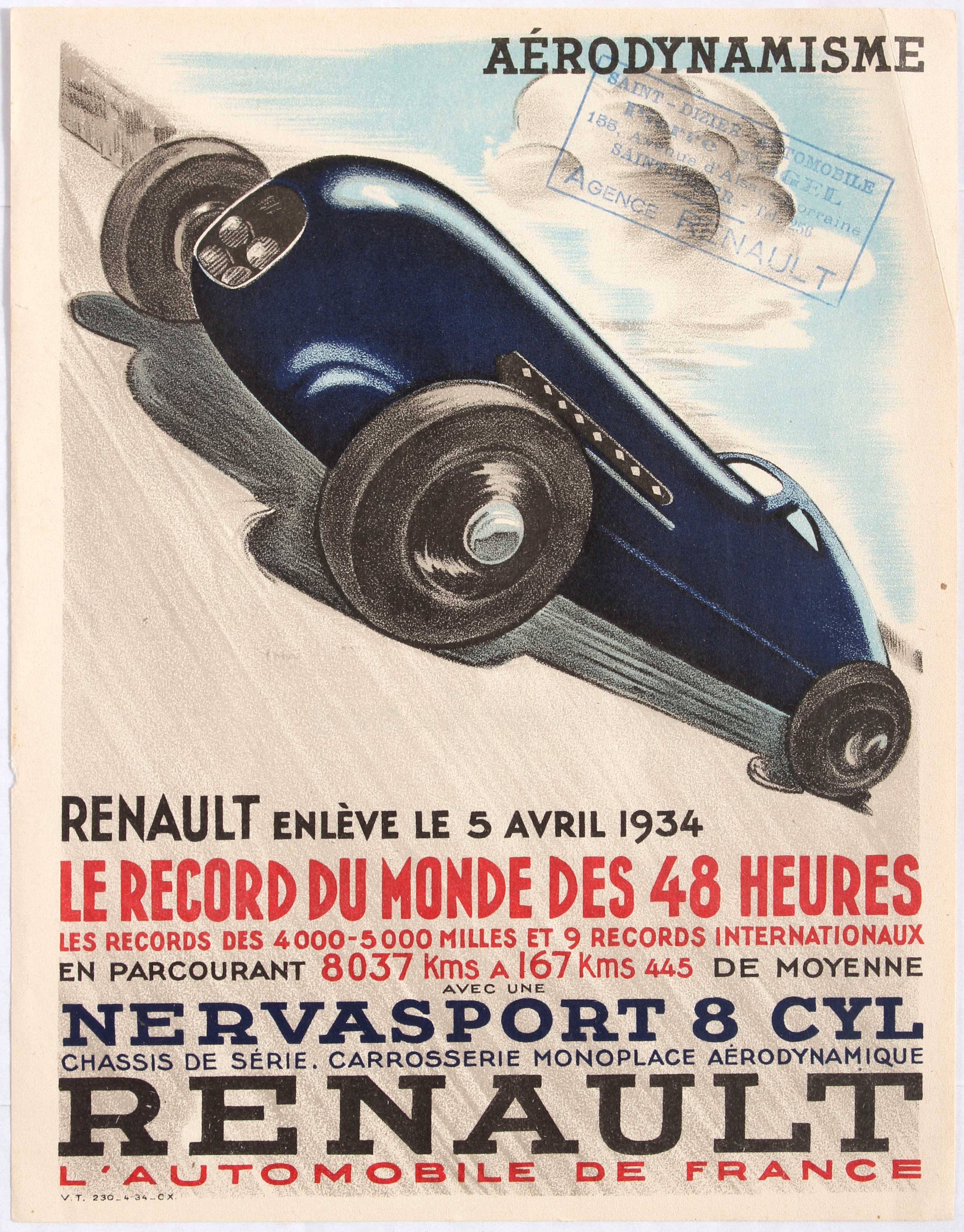 Advertising Poster for Renault Renault takes the 48 hours World Record.