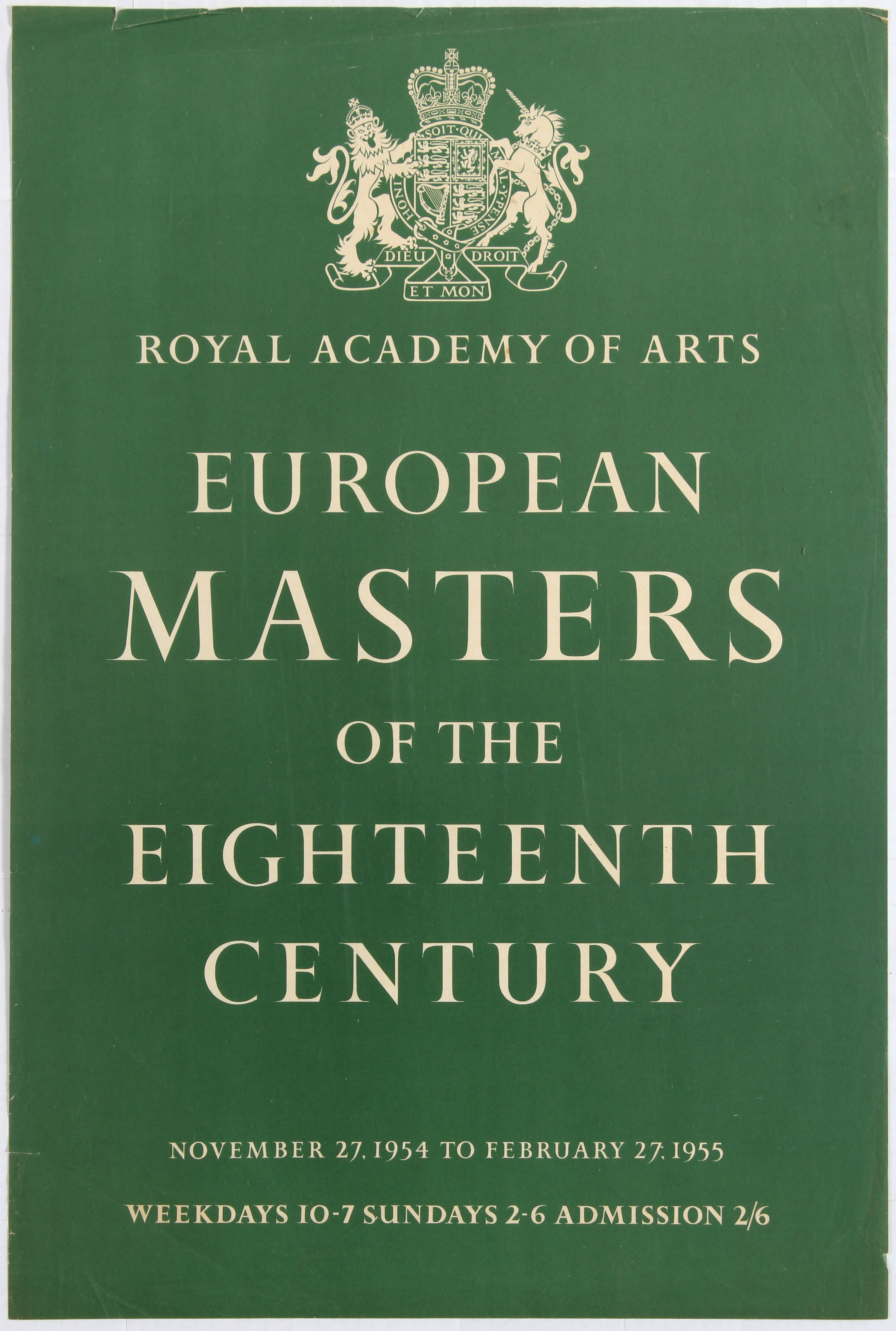 Lot 1506 - Advertising Poster Royal Academy of Arts European Masters of the 18th Century