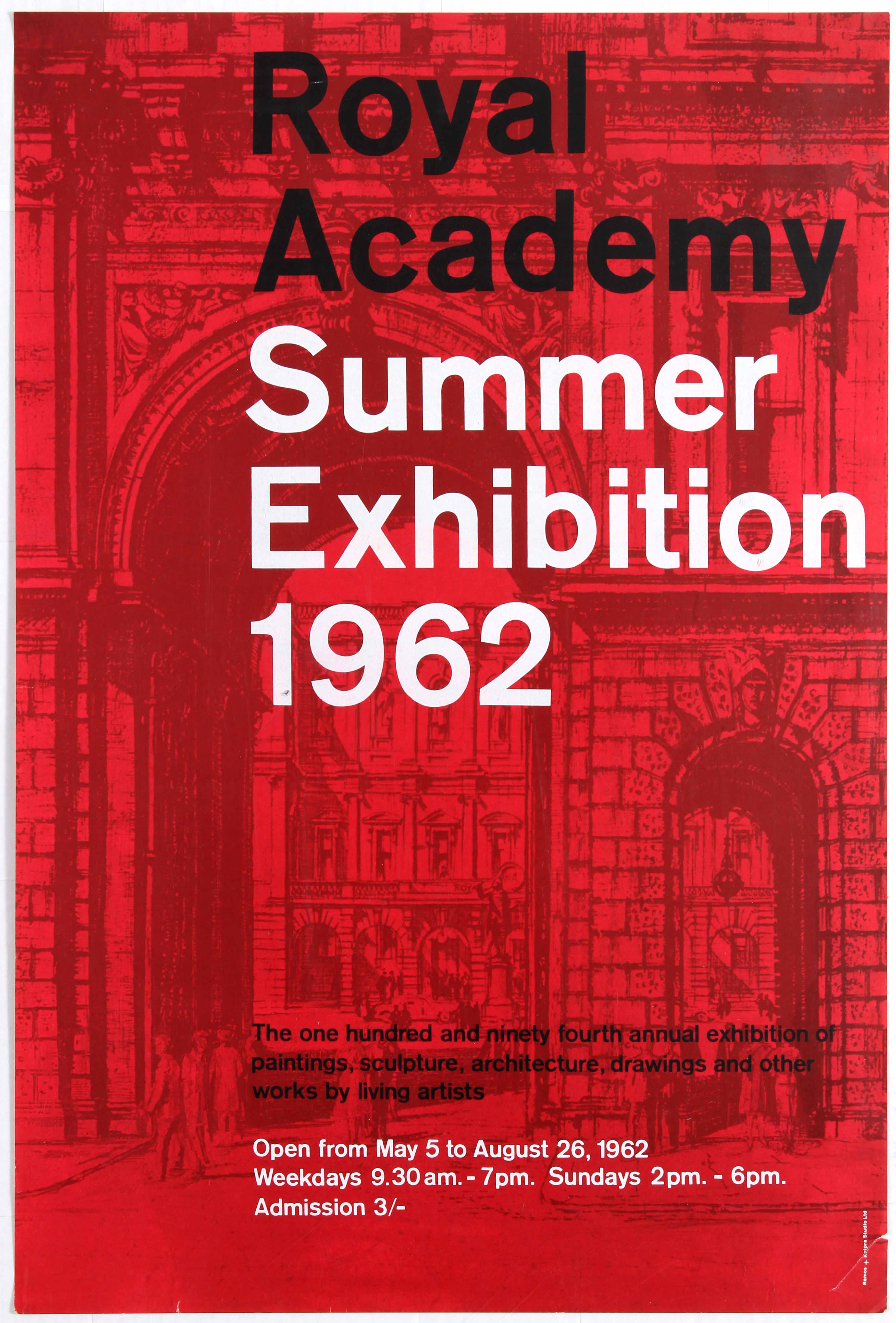 Advertising Poster Royal Academy Summer Exhibition 1962.