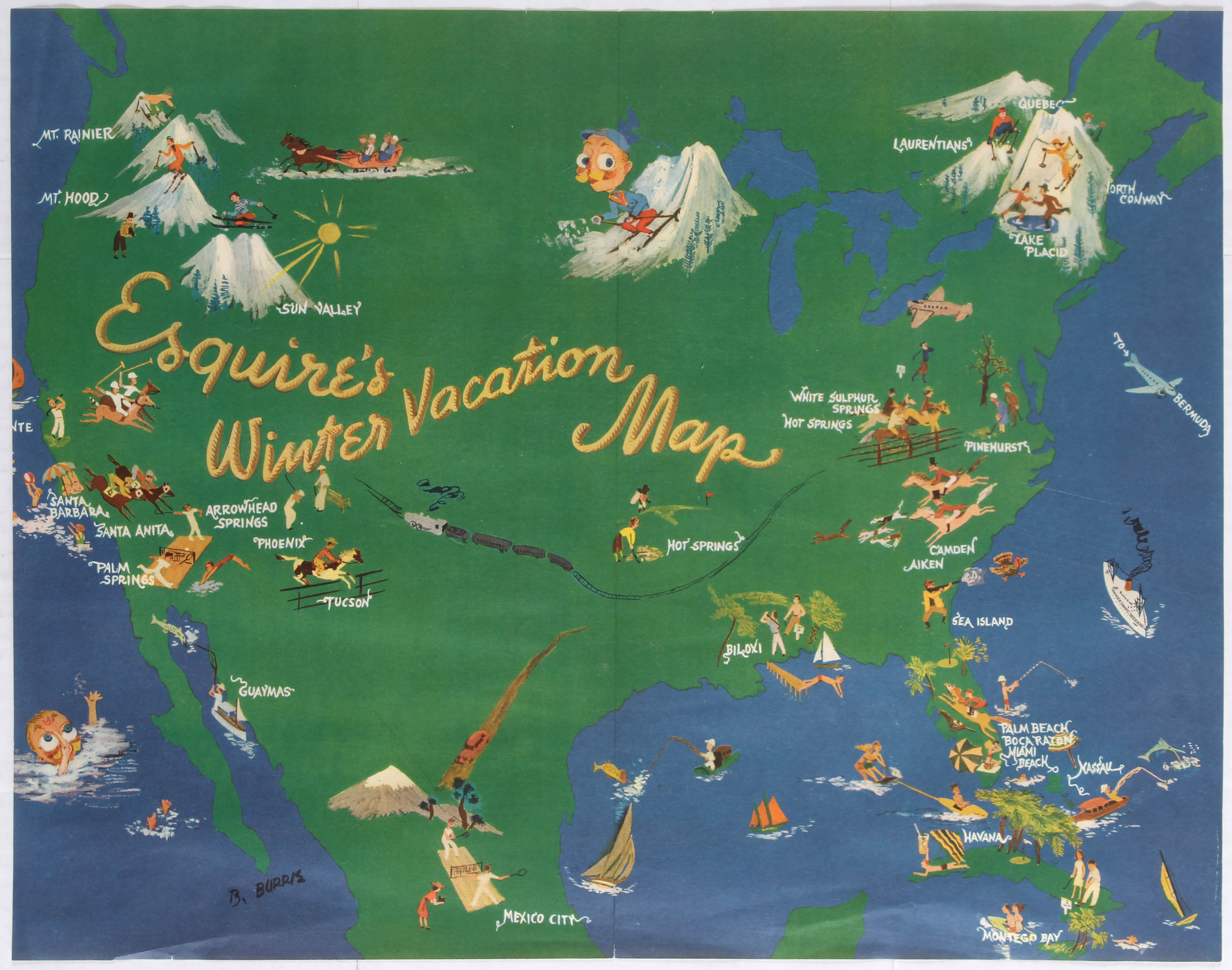 Advertising Poster Esquire Winter Vacation Map / Pin Up Poster Petty - Image 2 of 2