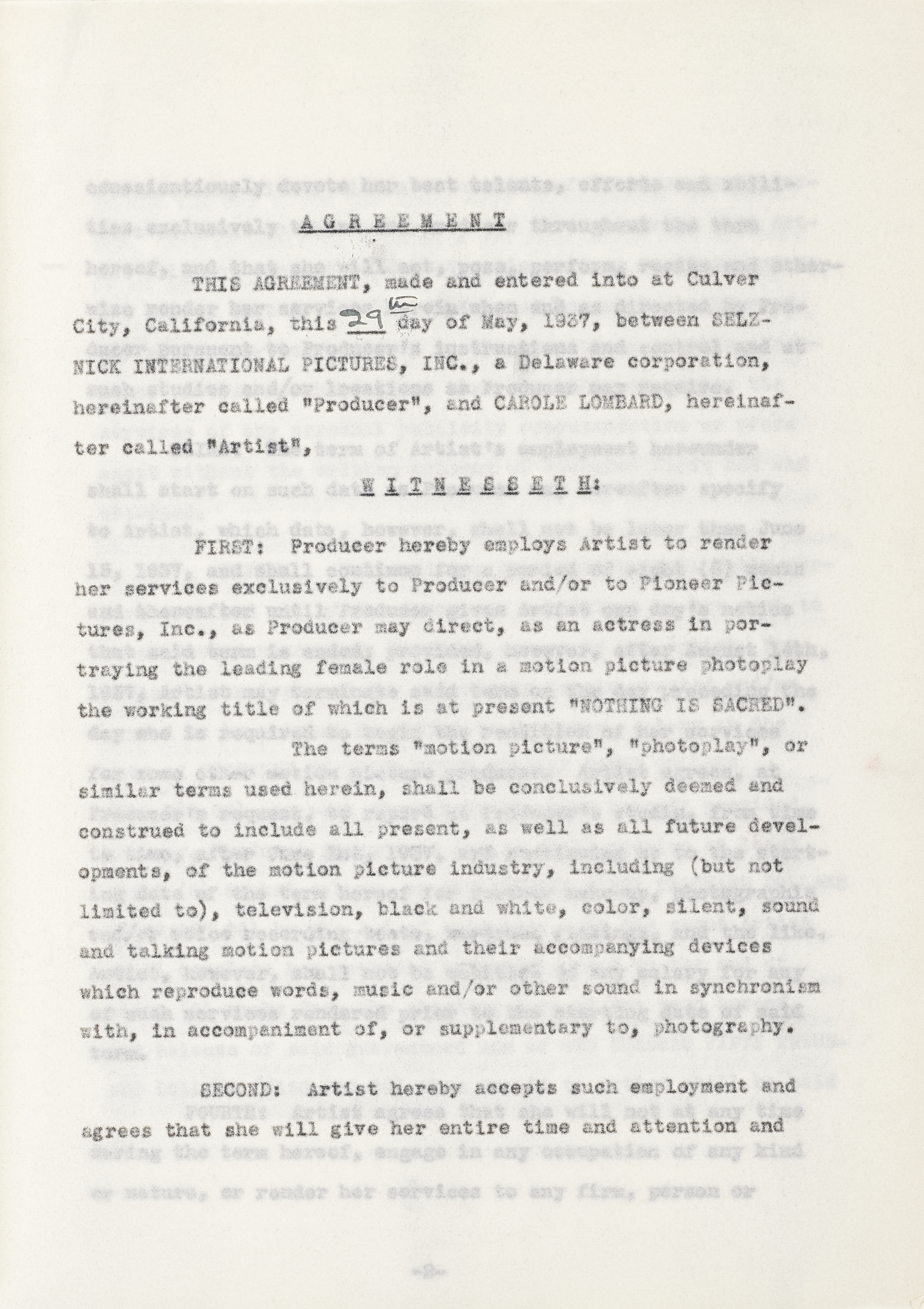 A Carole Lombard signed contract for Nothing Sacred - Image 2 of 2