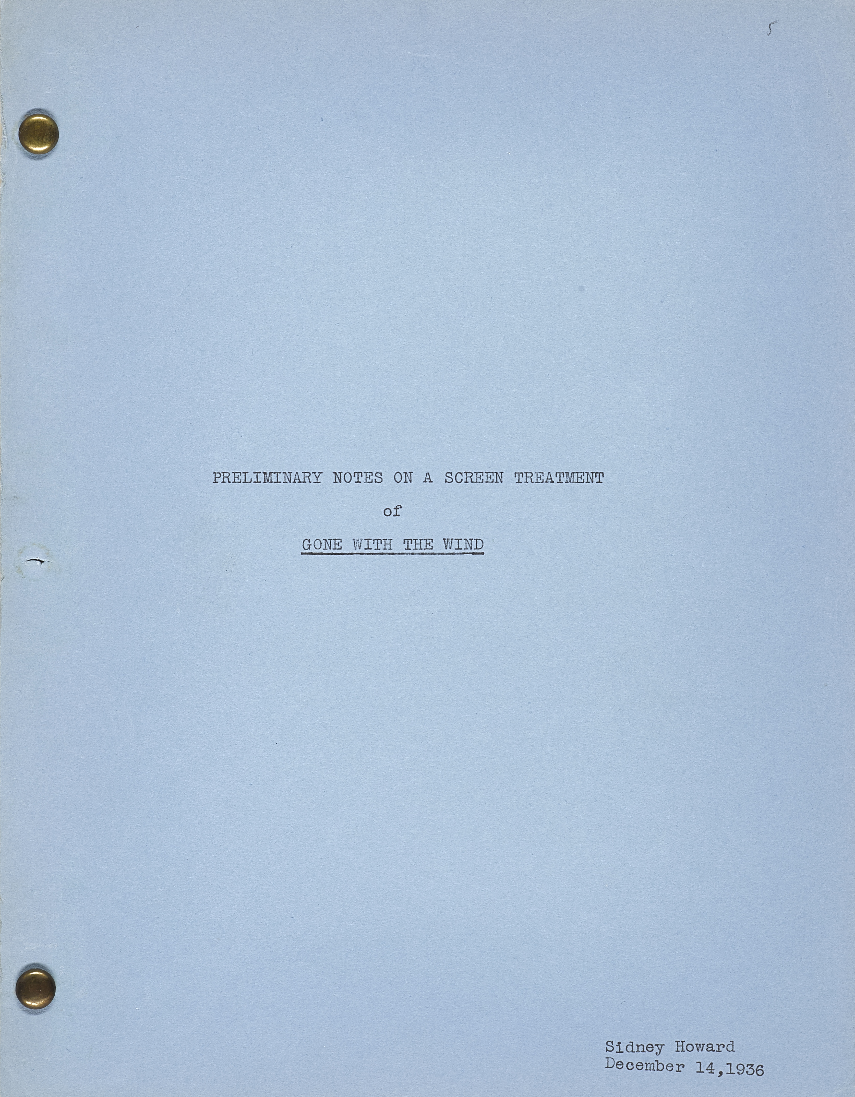 A Gone With the Wind preliminary story treatment by Sidney Howard - Image 2 of 2
