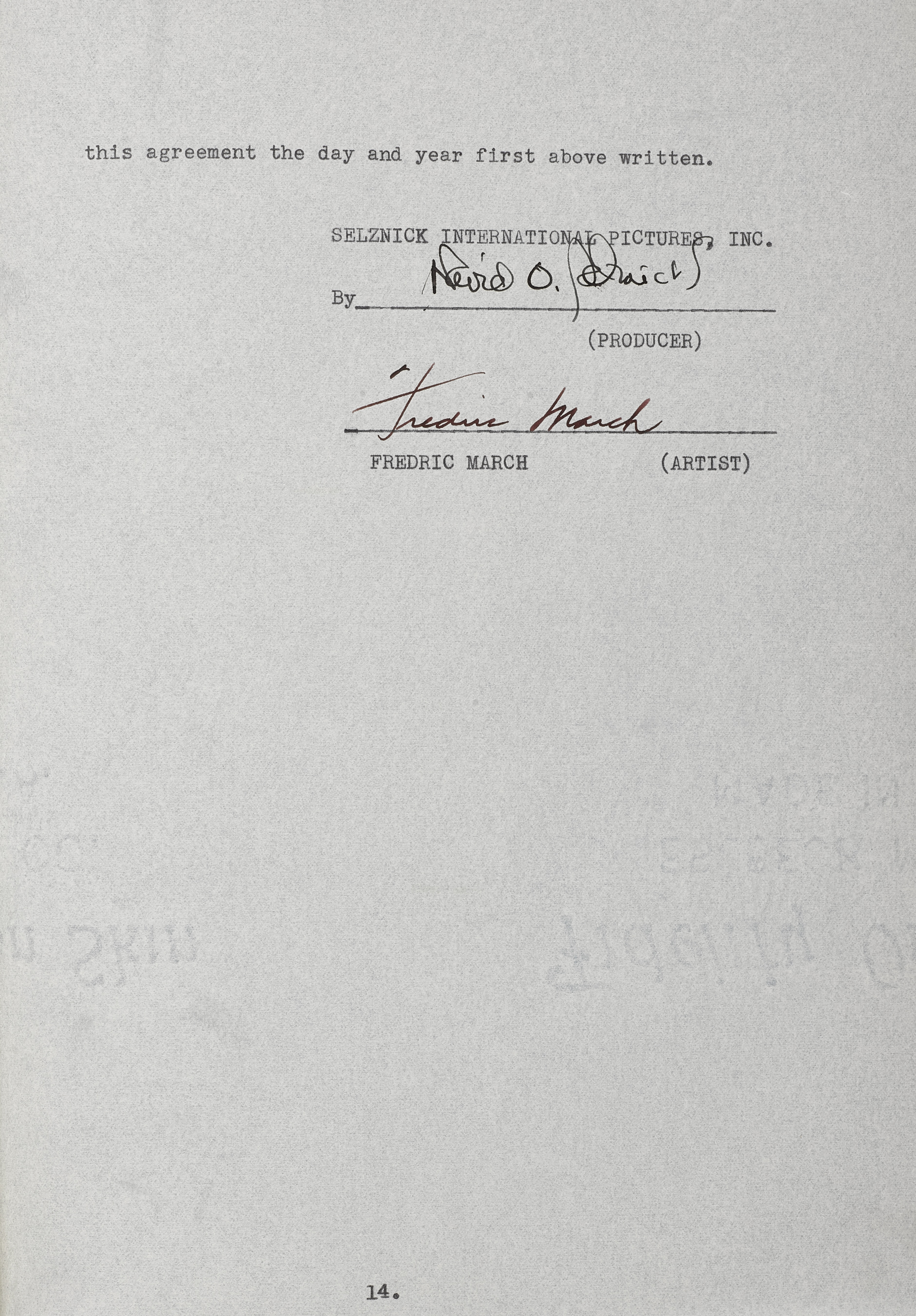A Fredric March signed contract for A Star is Born