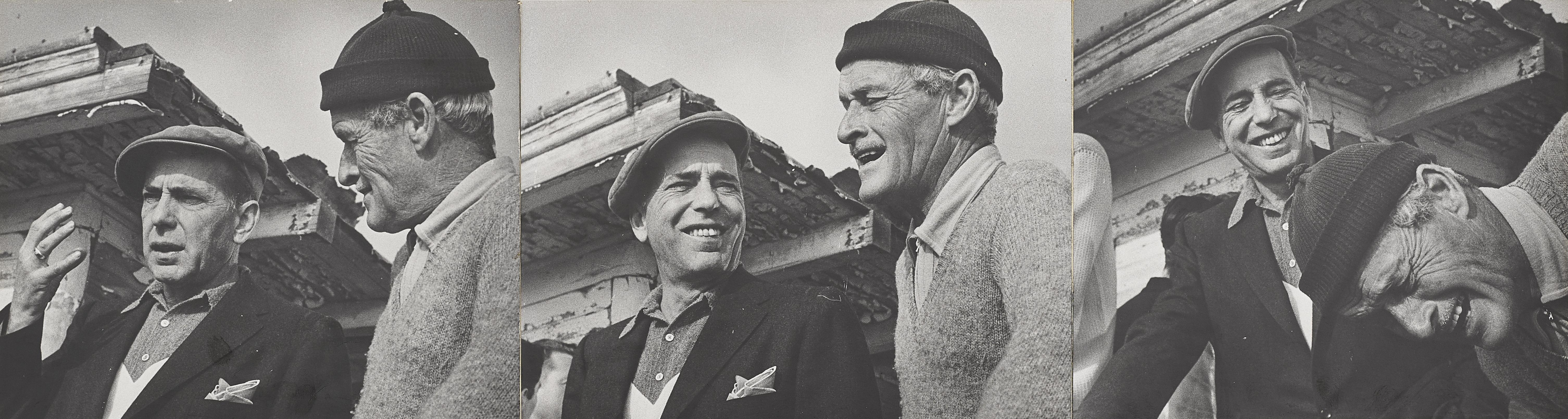 A Humphrey Bogart and William Wellman triptych taken by Phil Stern
