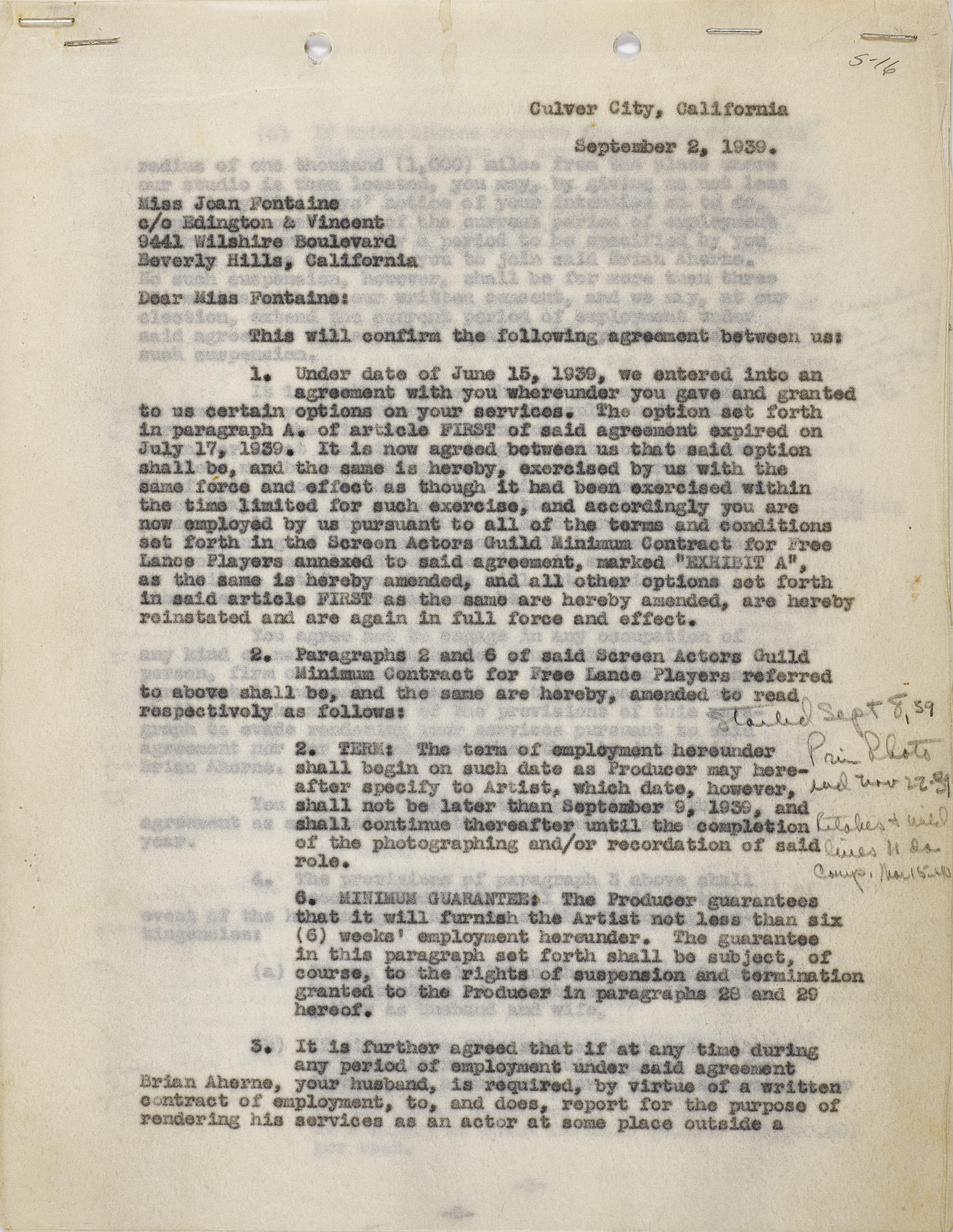 A Joan Fontaine contract with Selznick International Pictures