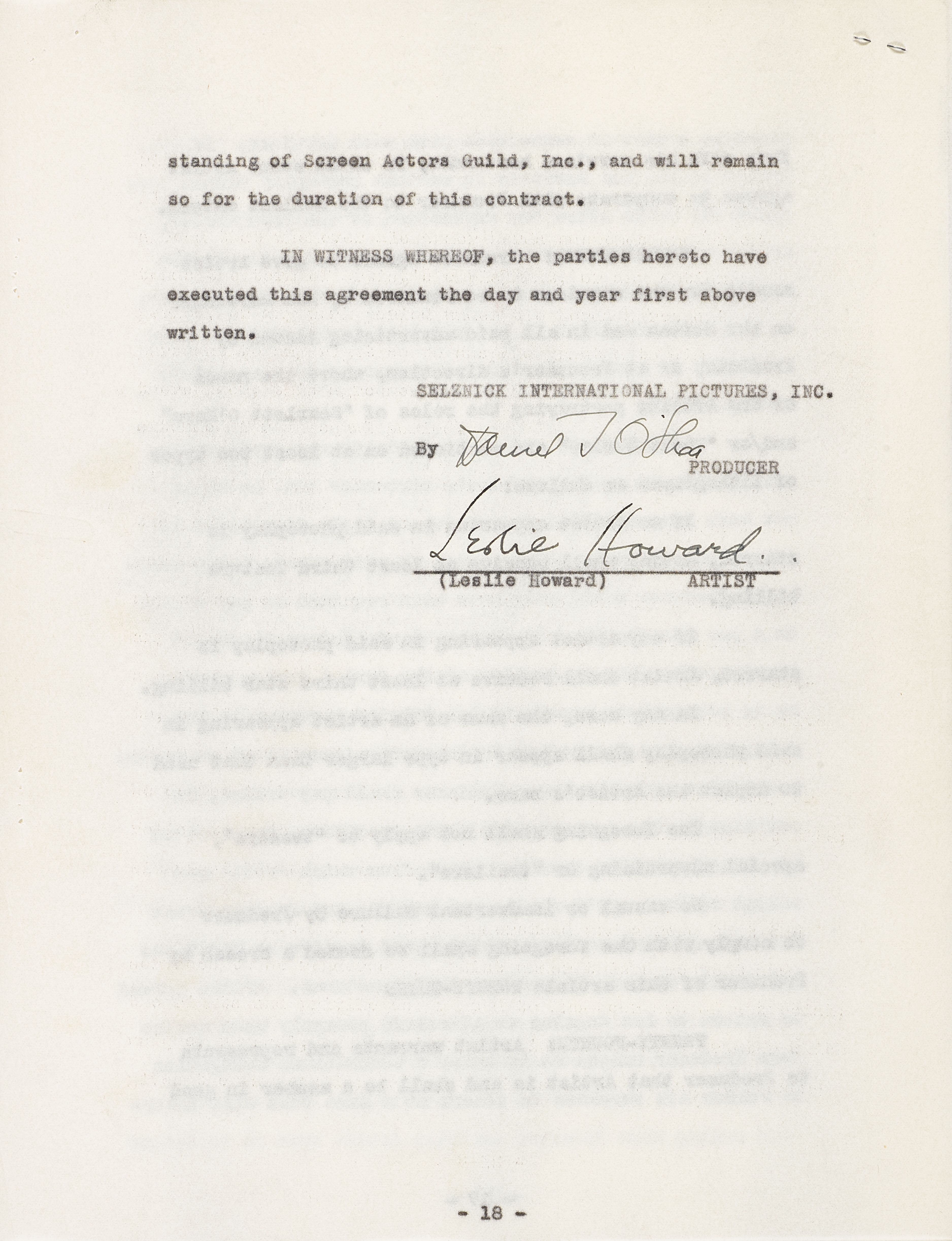 A Leslie Howard signed contract for Gone With the Wind
