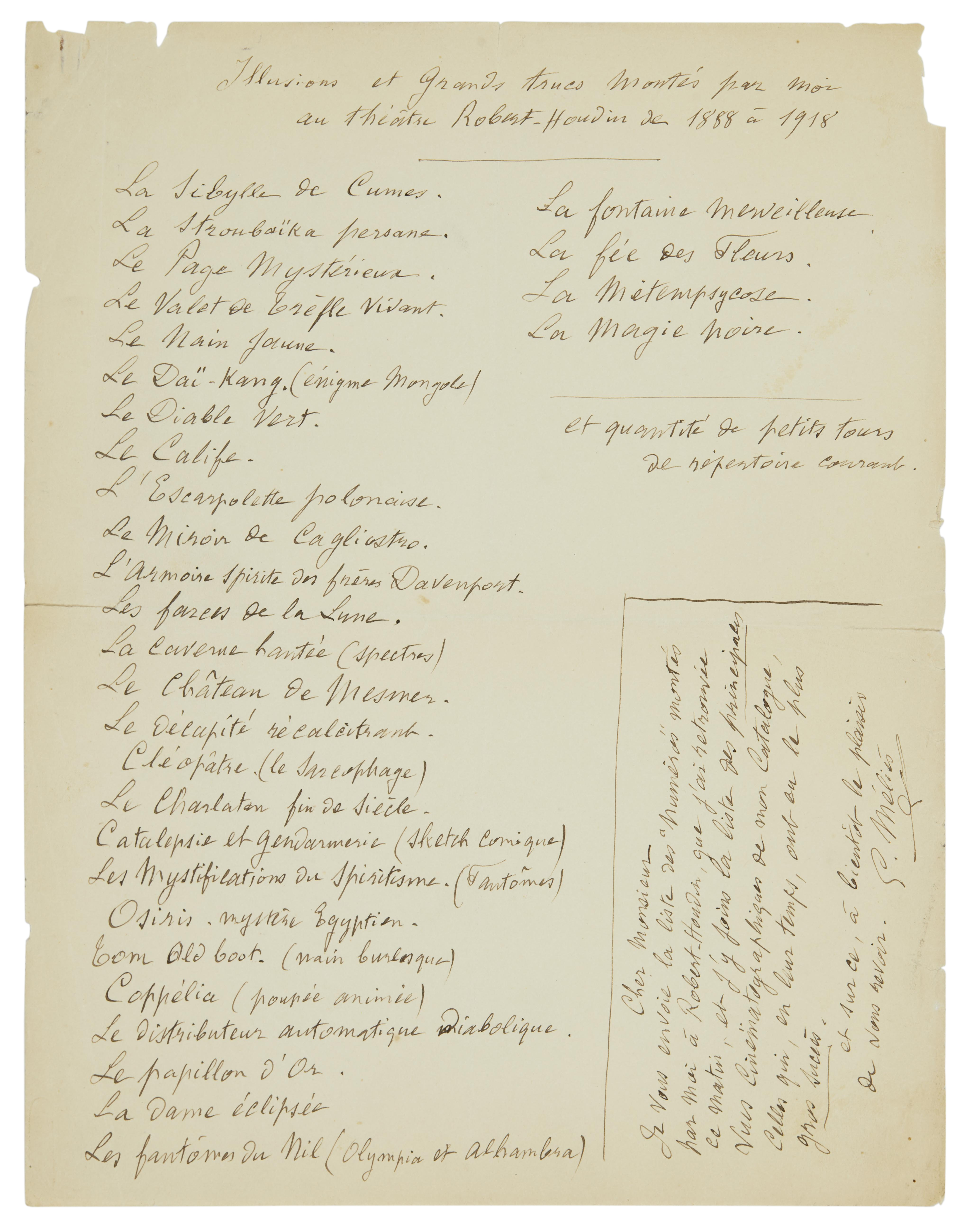 An extensive Georges Méliès archive of autograph material and original photographs - Image 8 of 10