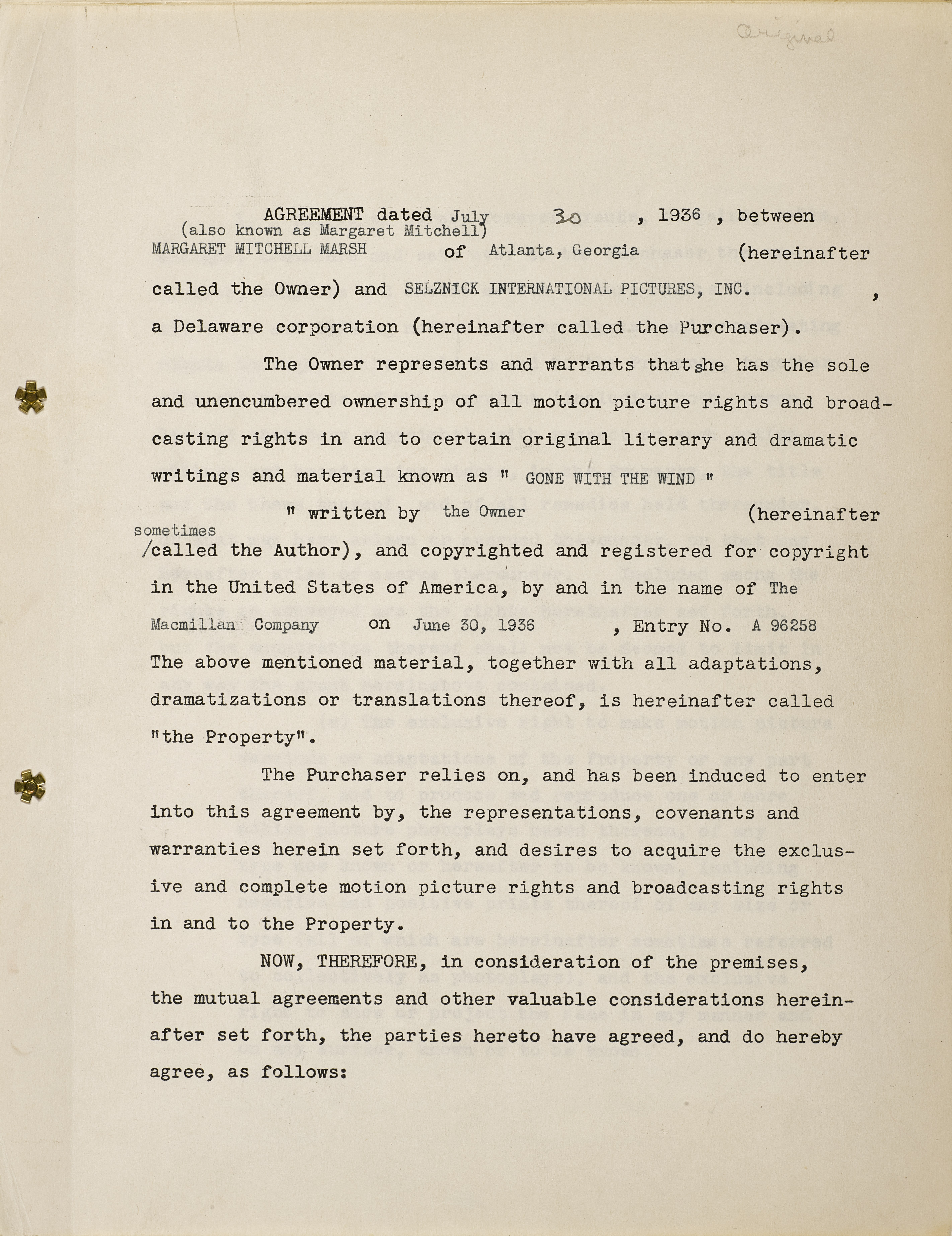 A Margaret Mitchell signed contract selling the film rights of Gone With the Wind to David O. Sel... - Image 2 of 2