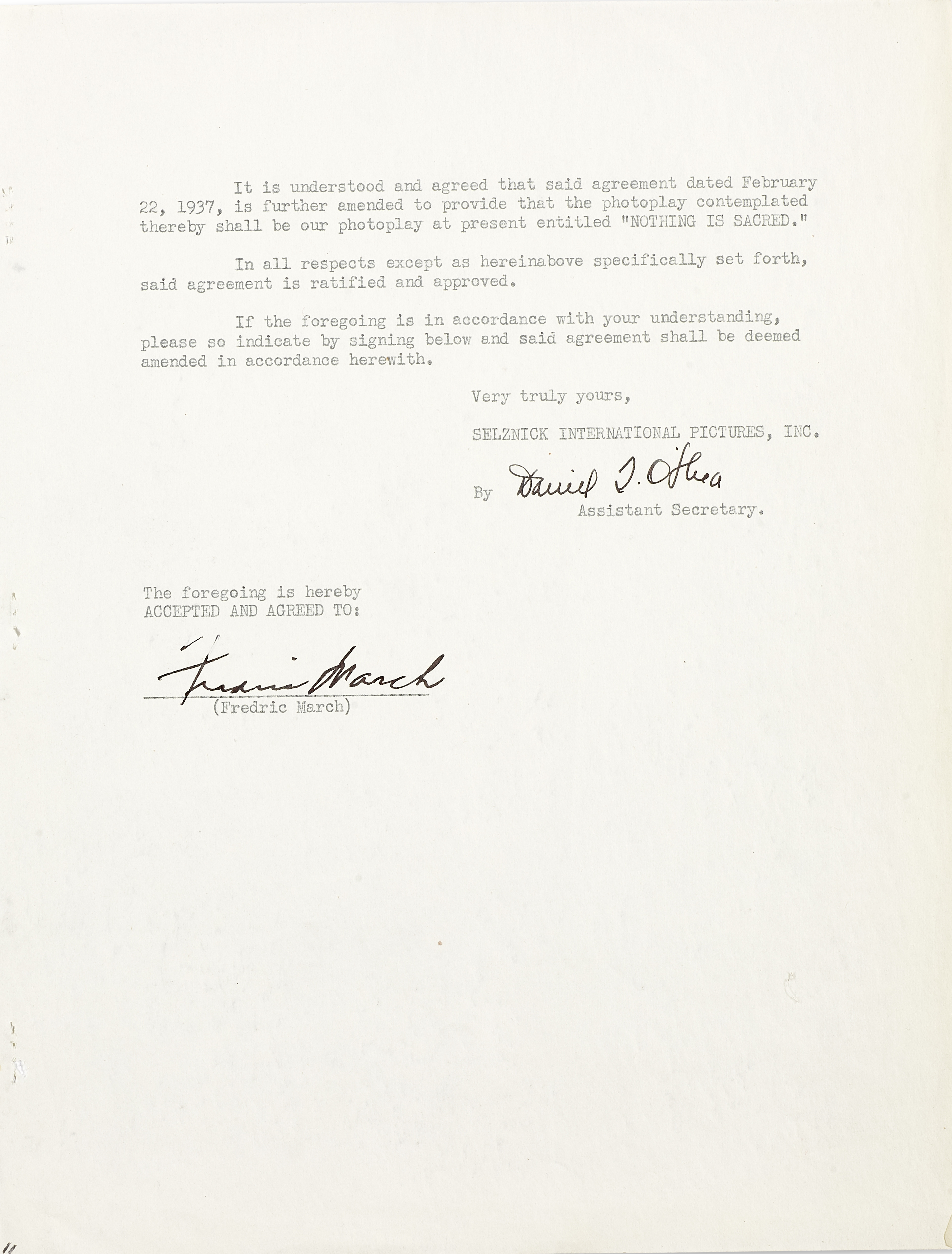 A Fredric March signed contract