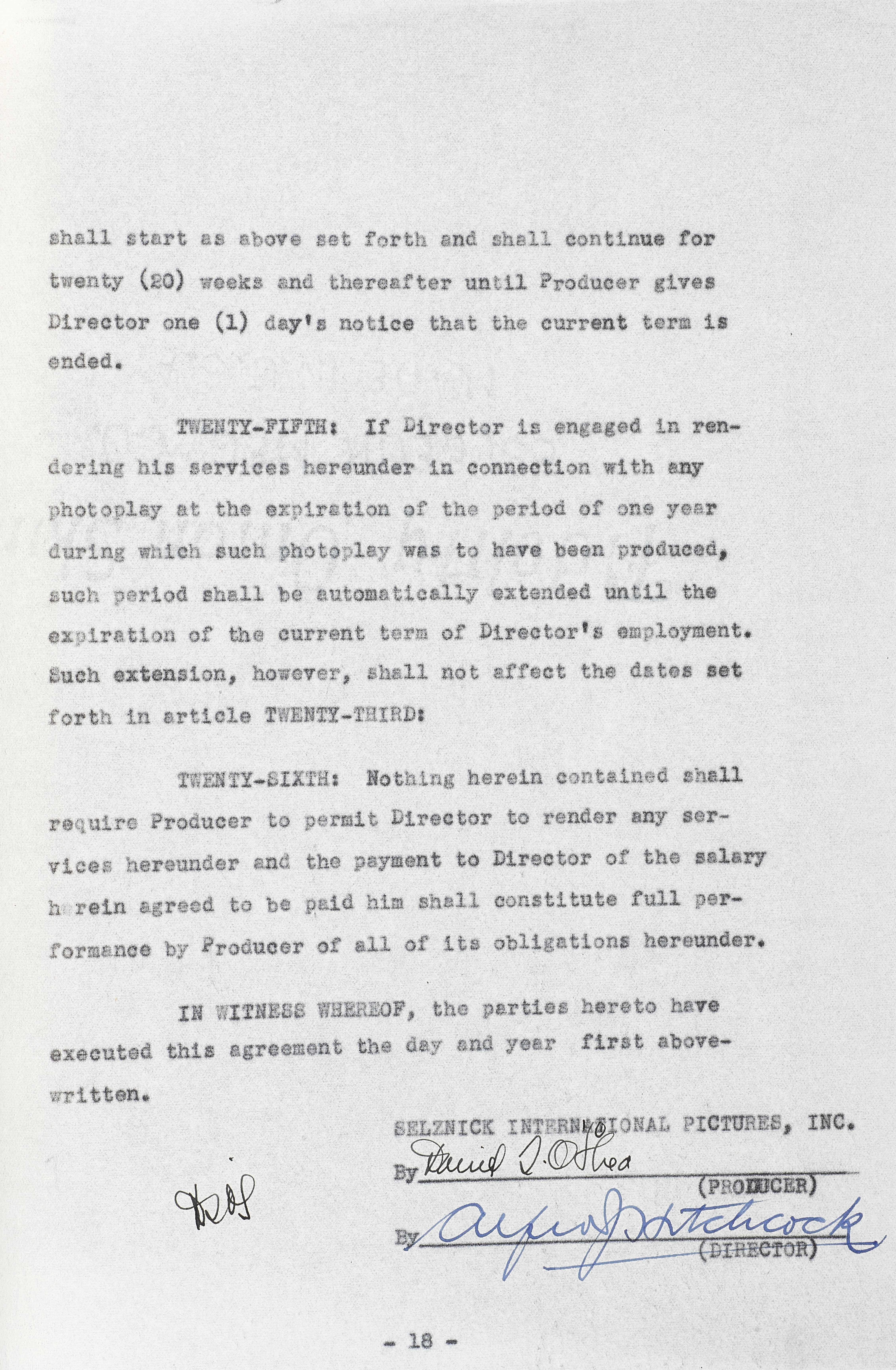An Alfred Hitchcock first American contract