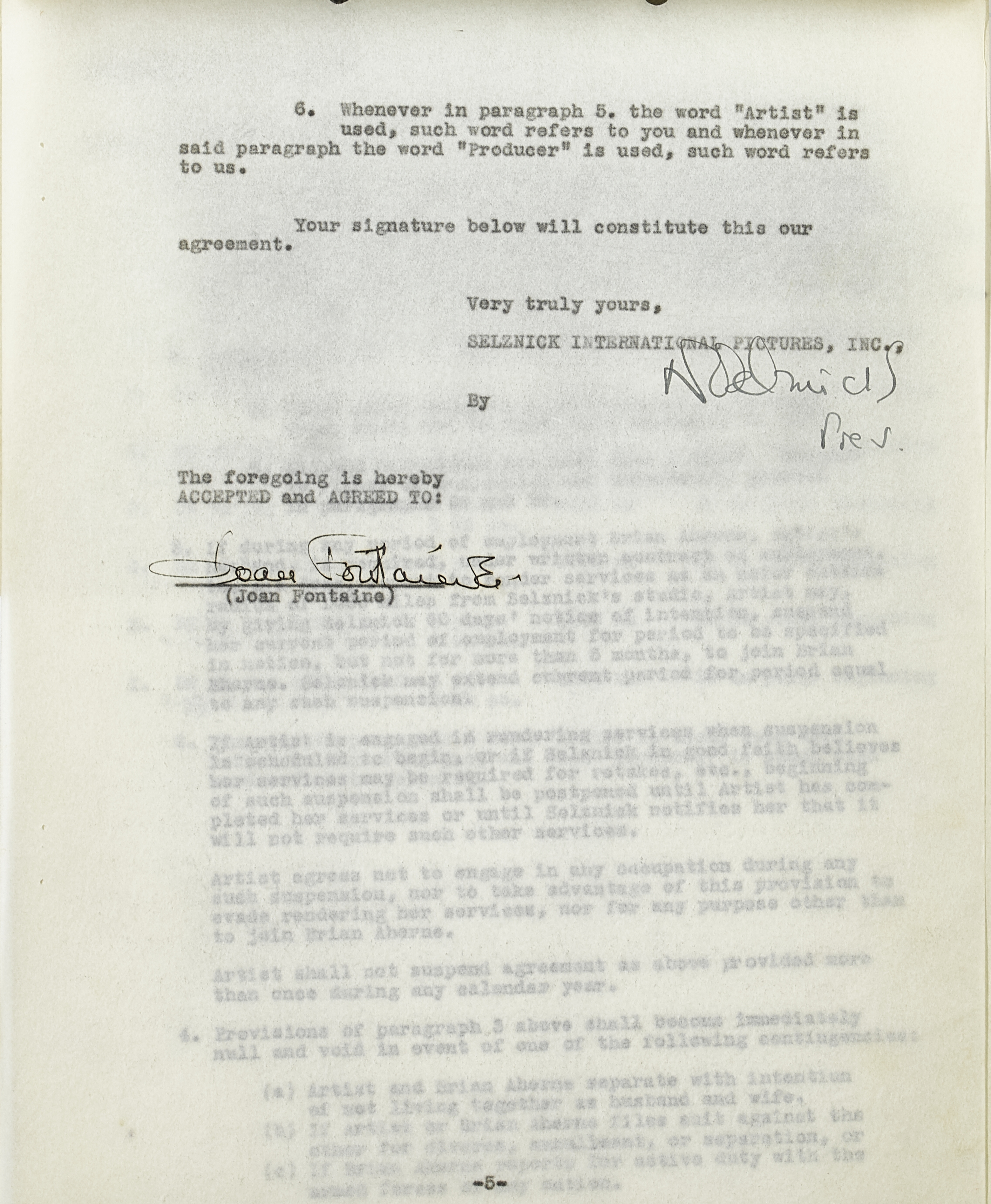 A Joan Fontaine contract with Selznick International Pictures - Image 2 of 2