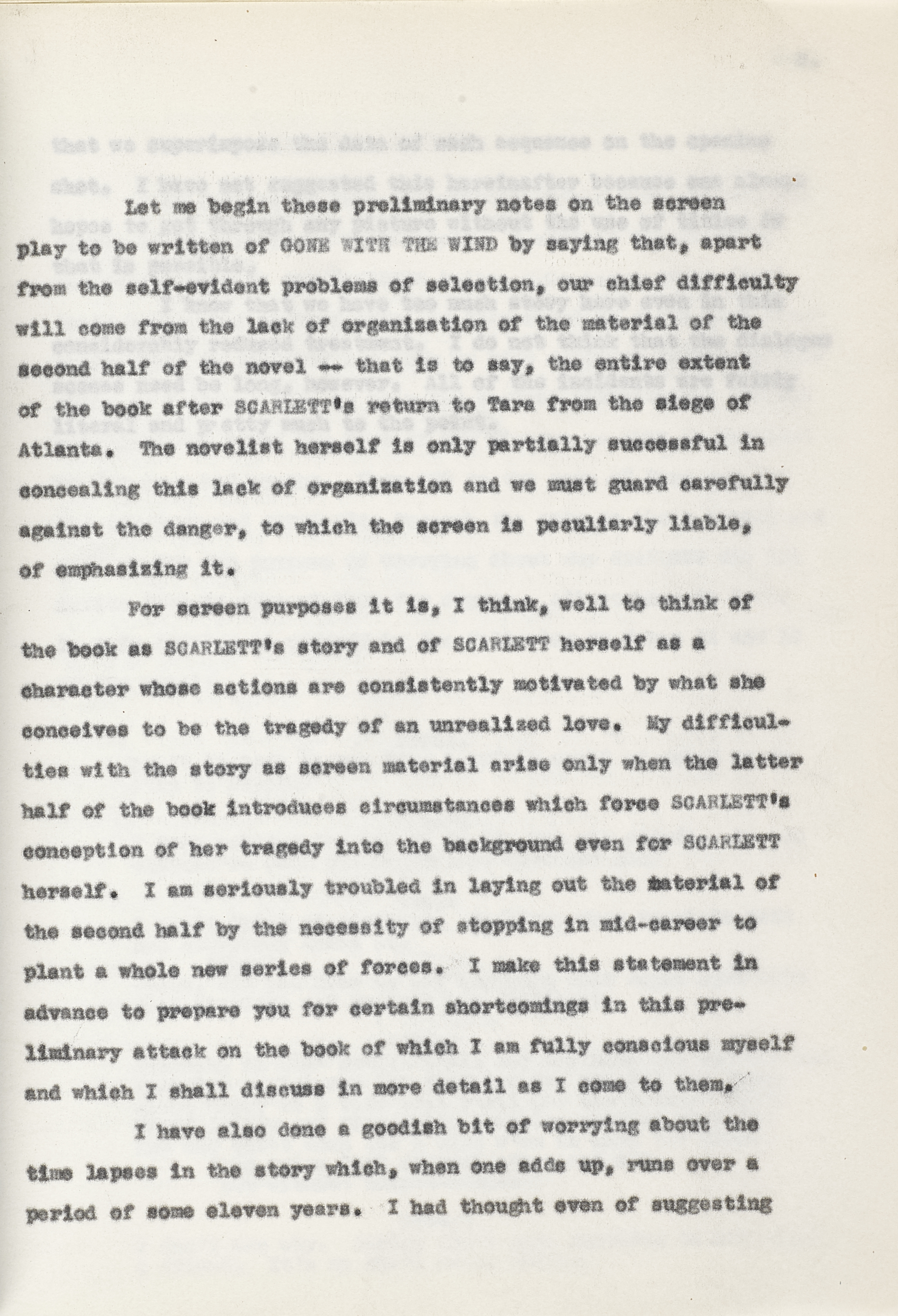 A Gone With the Wind preliminary story treatment by Sidney Howard