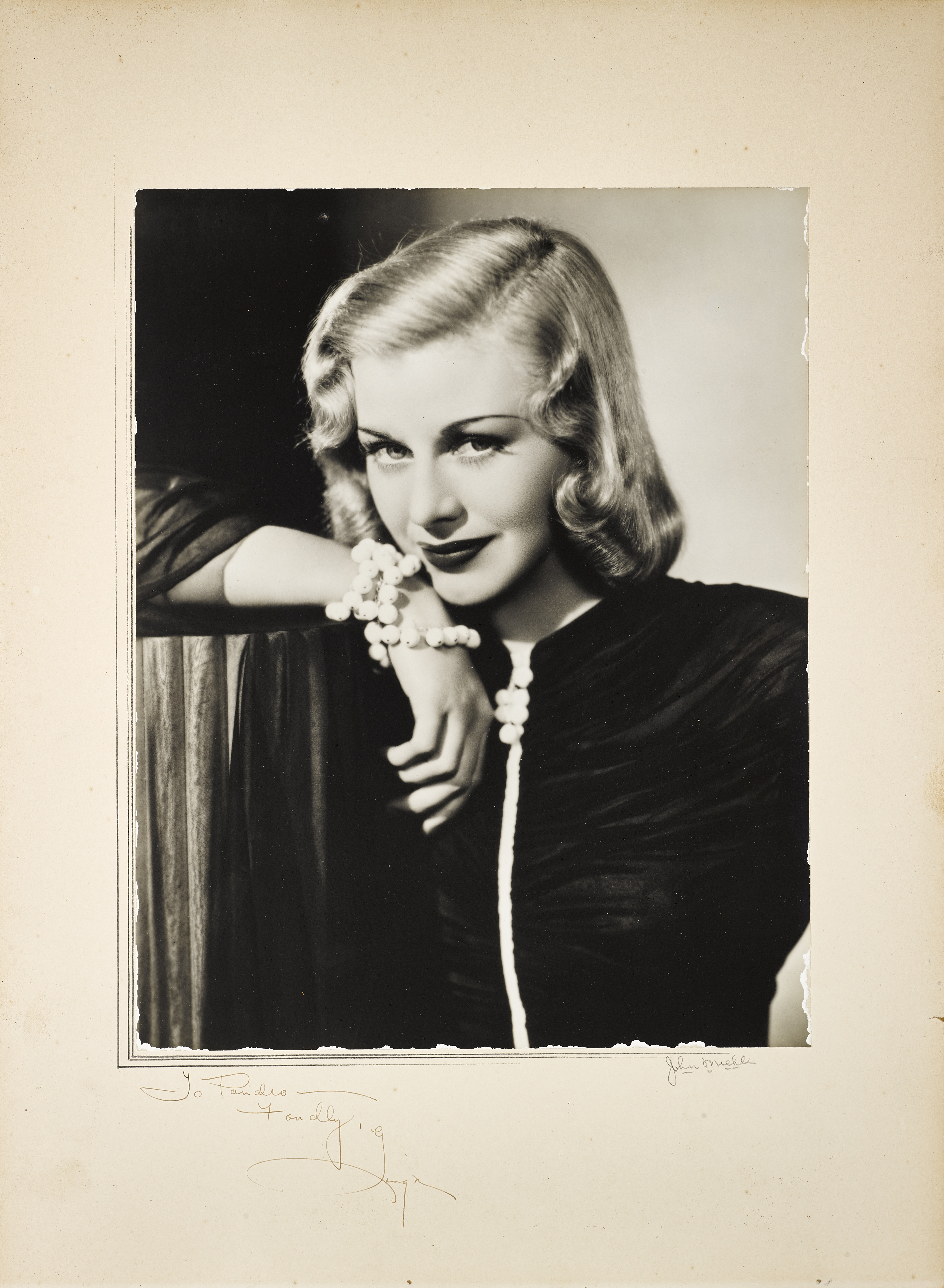 A Ginger Rogers signed photo to Pandro Berman