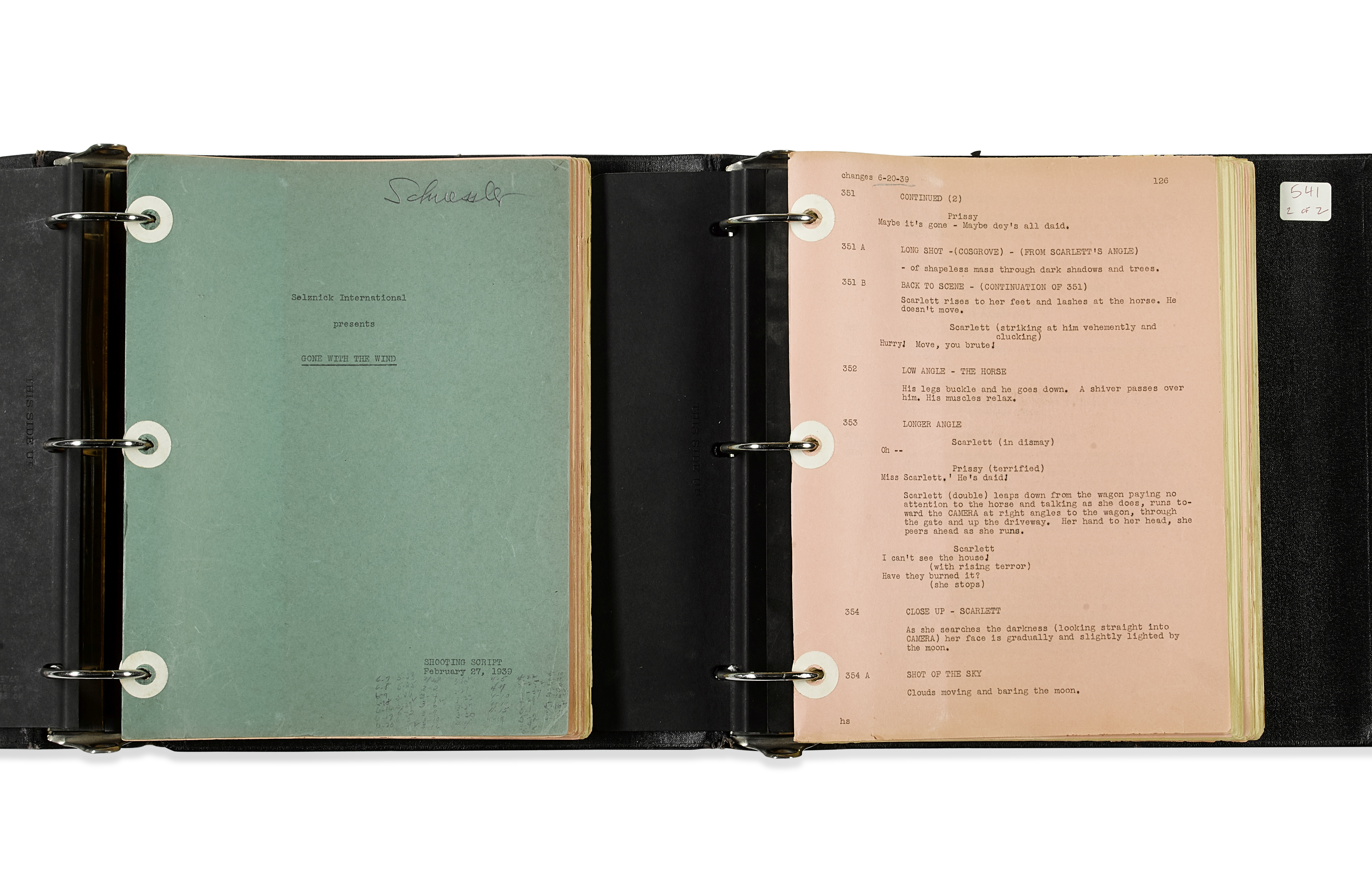 A Gone With the Wind shooting script belonging to casting director Fred Schuessler