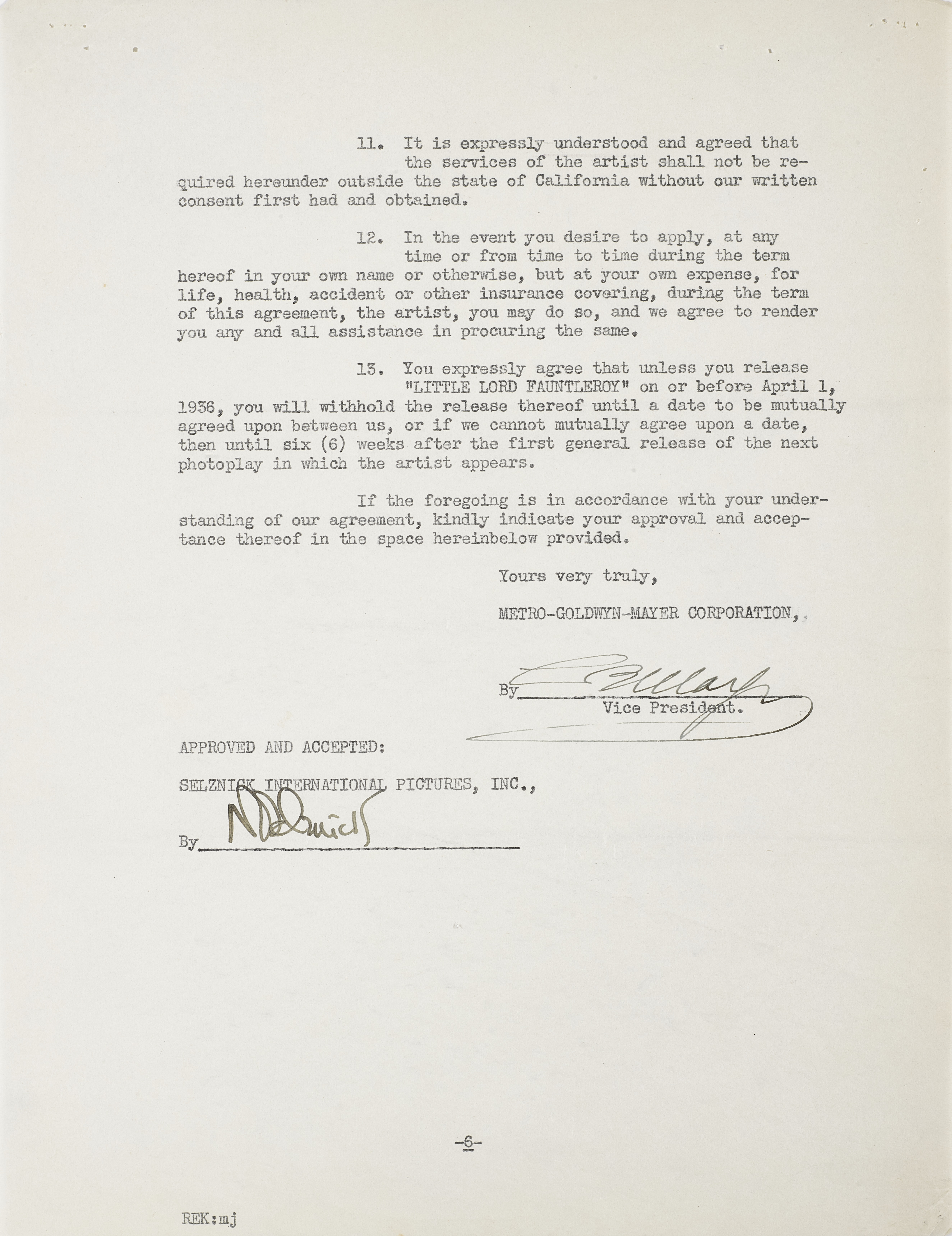 A Freddie Bartholomew contract for Little Lord Fauntleroy - Image 2 of 2