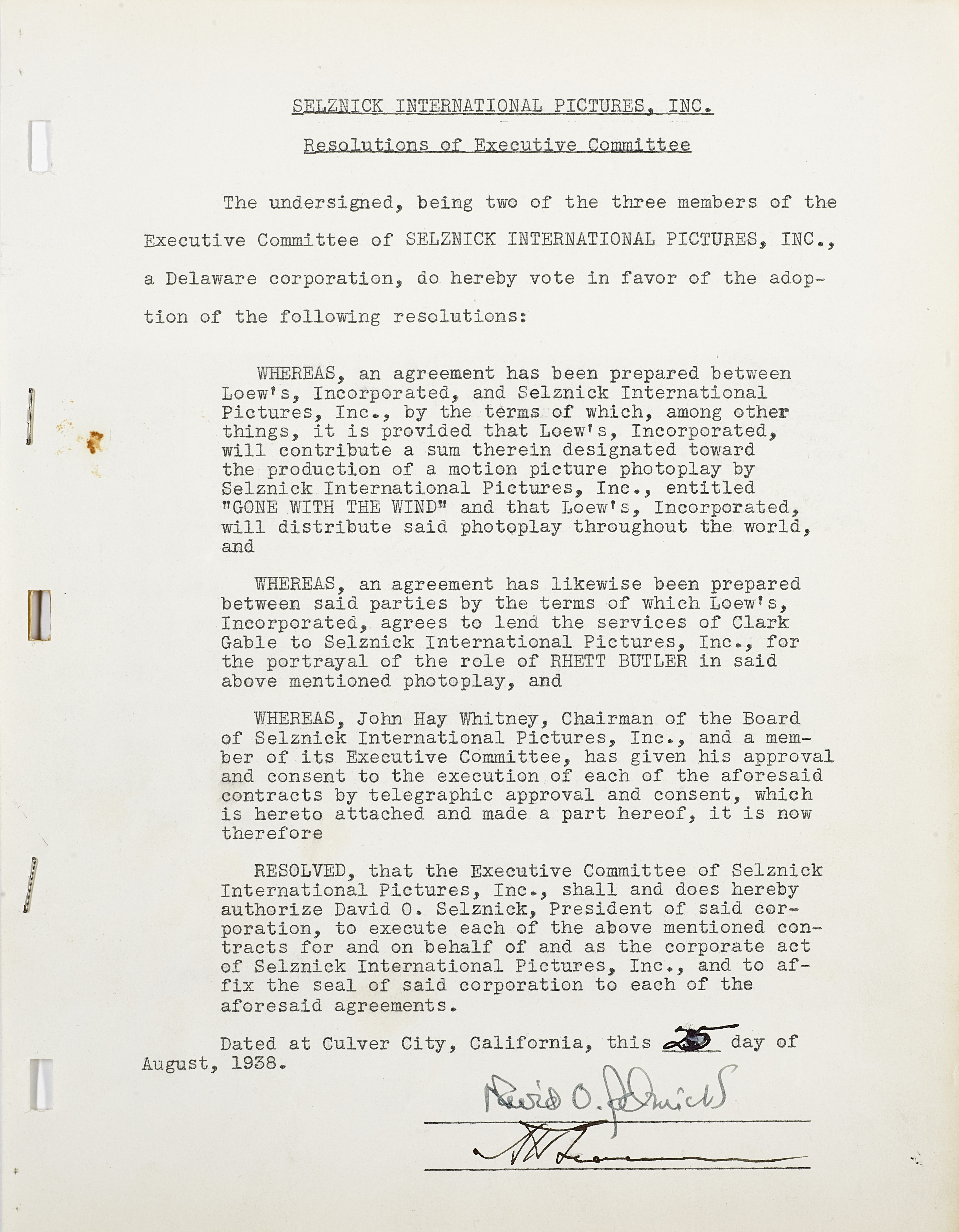 A David O. Selznick signed resolution to produce Gone With the Wind