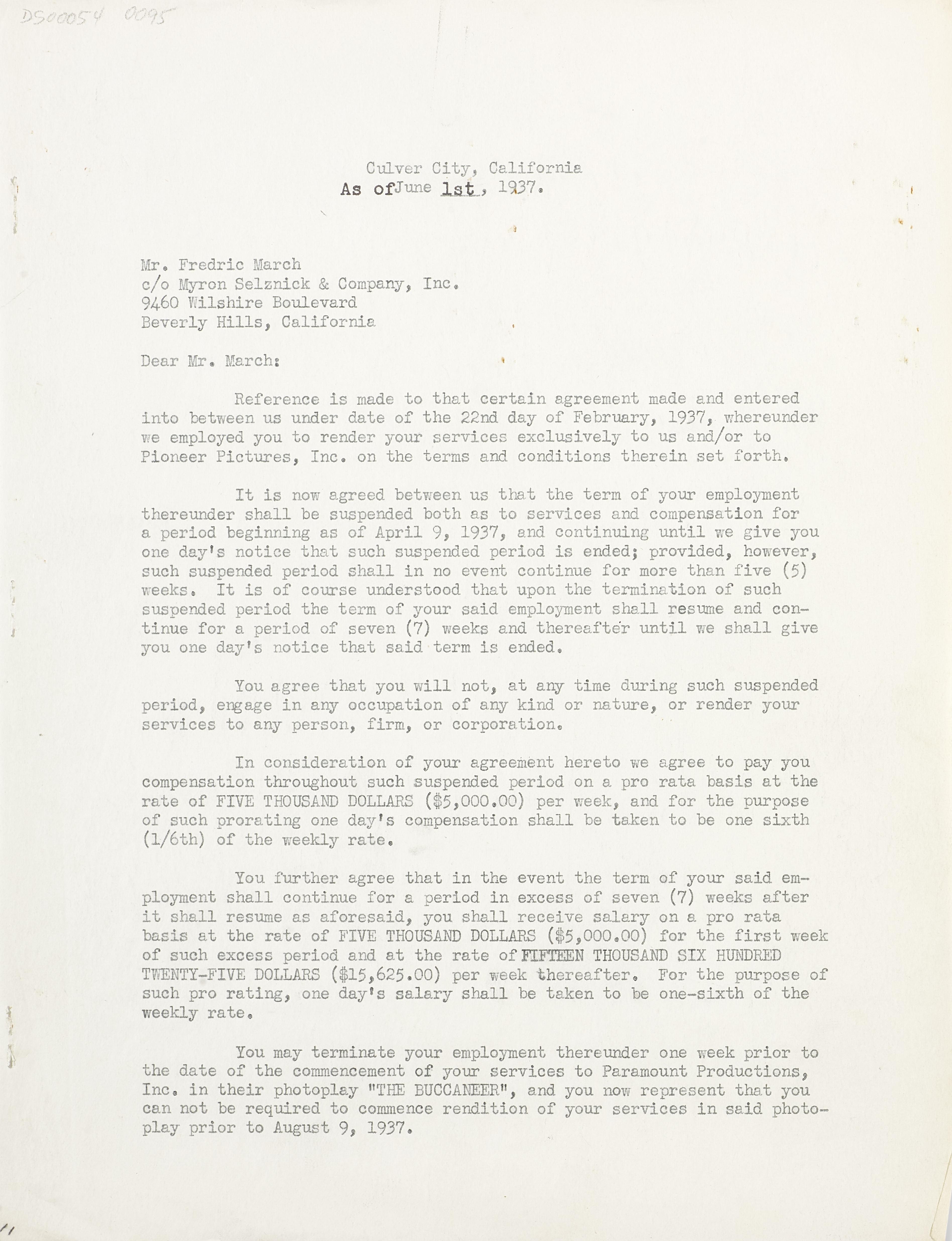 A Fredric March signed contract - Image 2 of 2