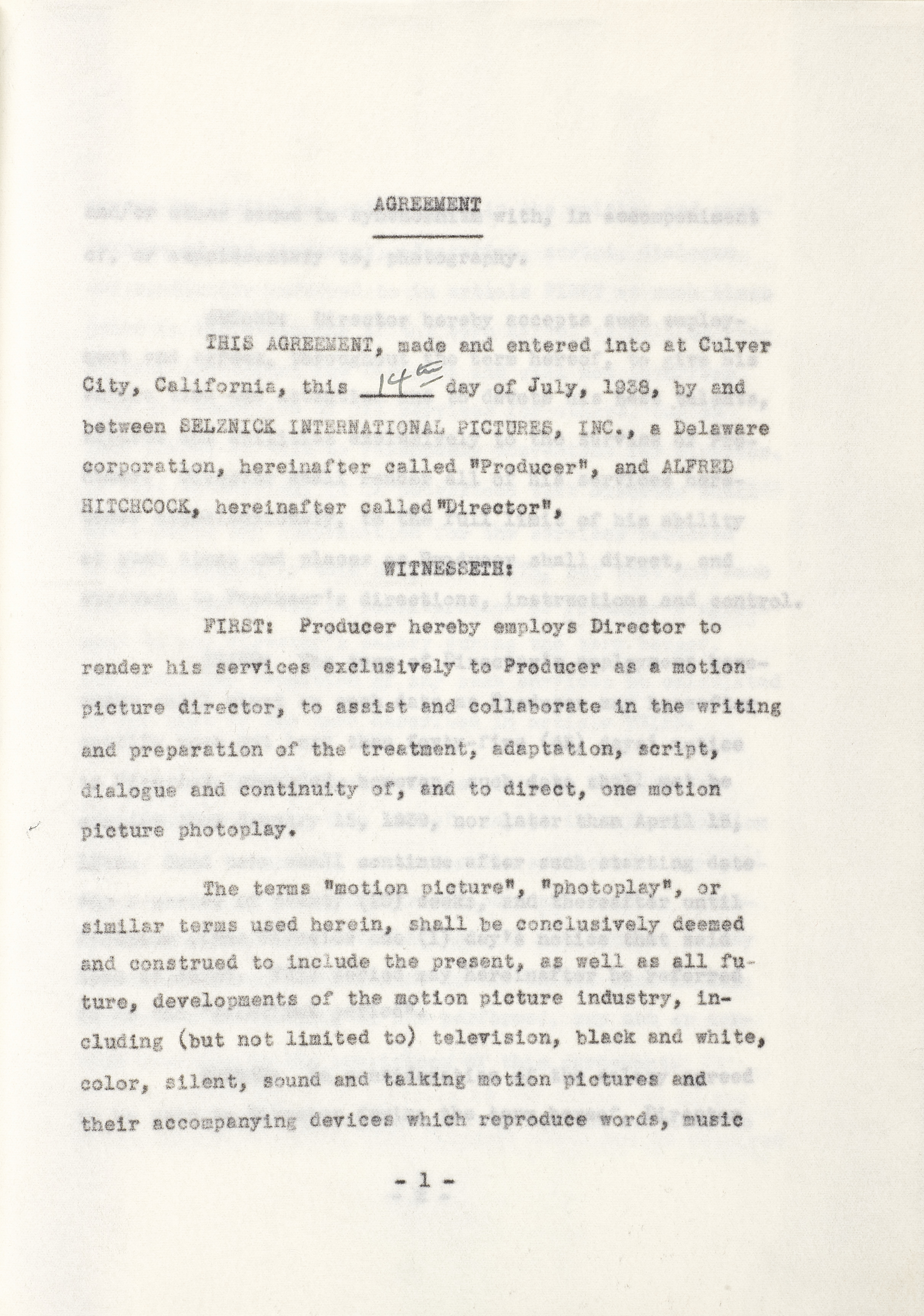 An Alfred Hitchcock first American contract - Image 2 of 2