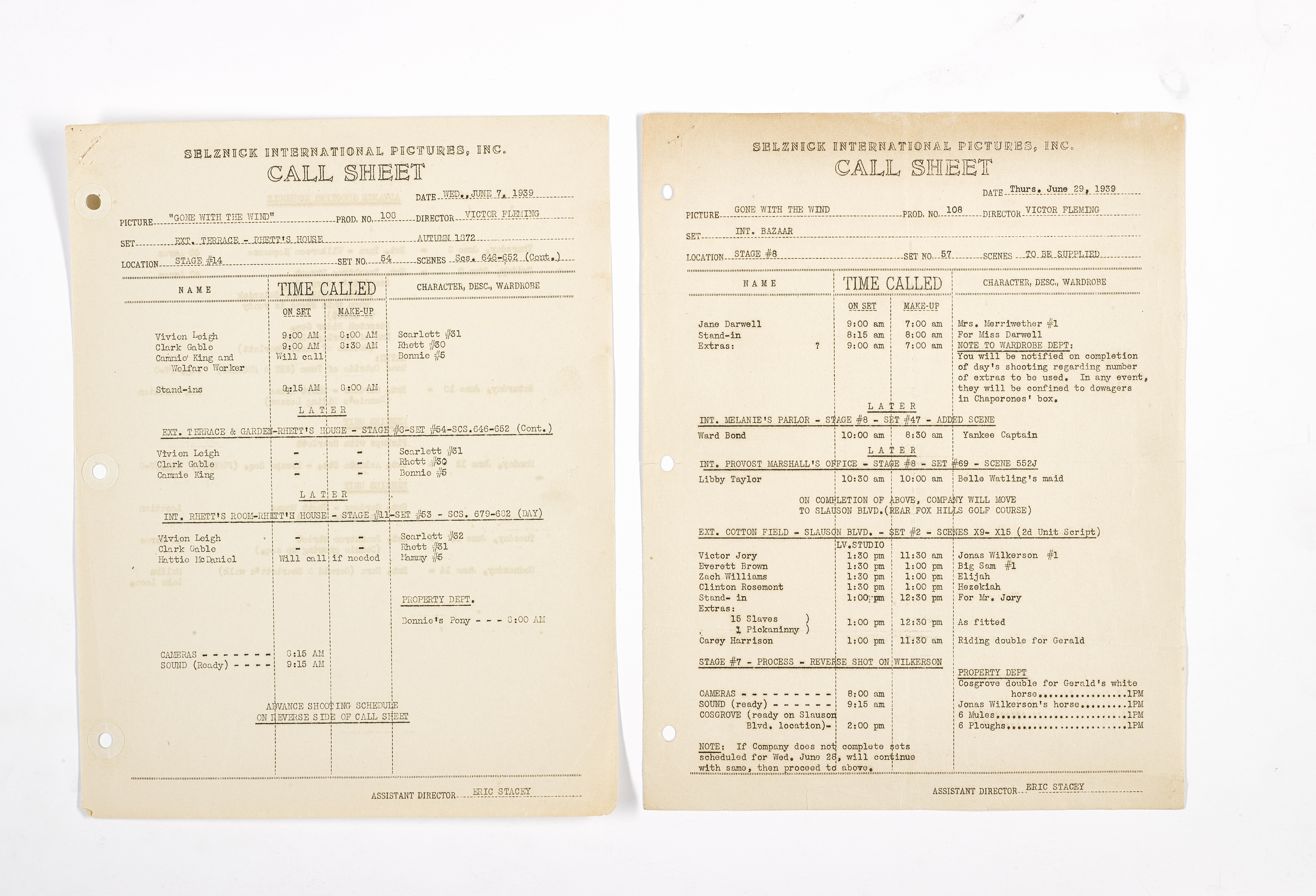 A Gone With the Wind pair of production call sheets