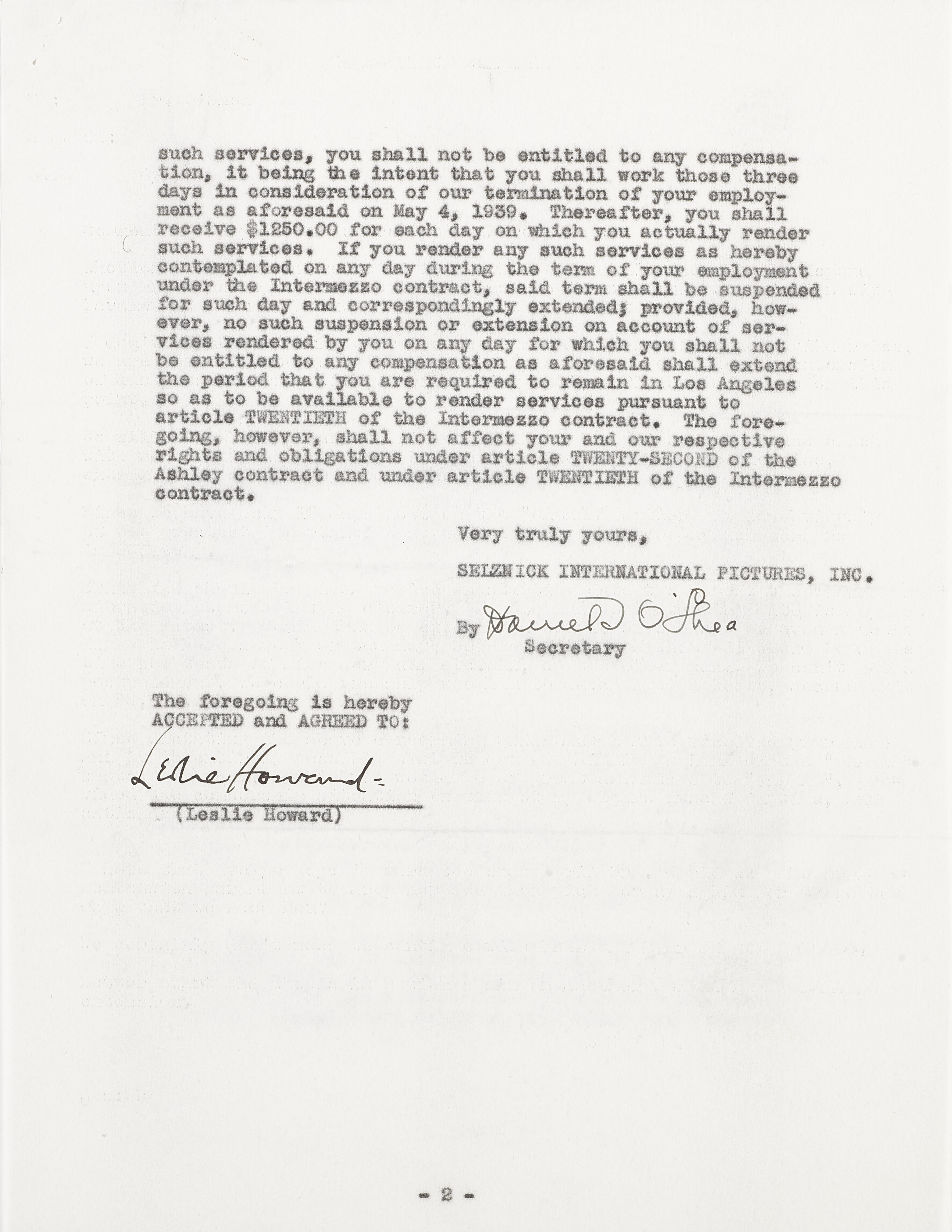 A Leslie Howard signed contract pertaining to Gone With the Wind and Intermezzo