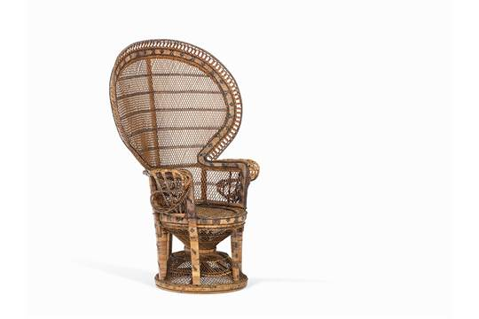 An Anglo Indian Wicker Peacock Chair Circa 1900 Braided Natural And