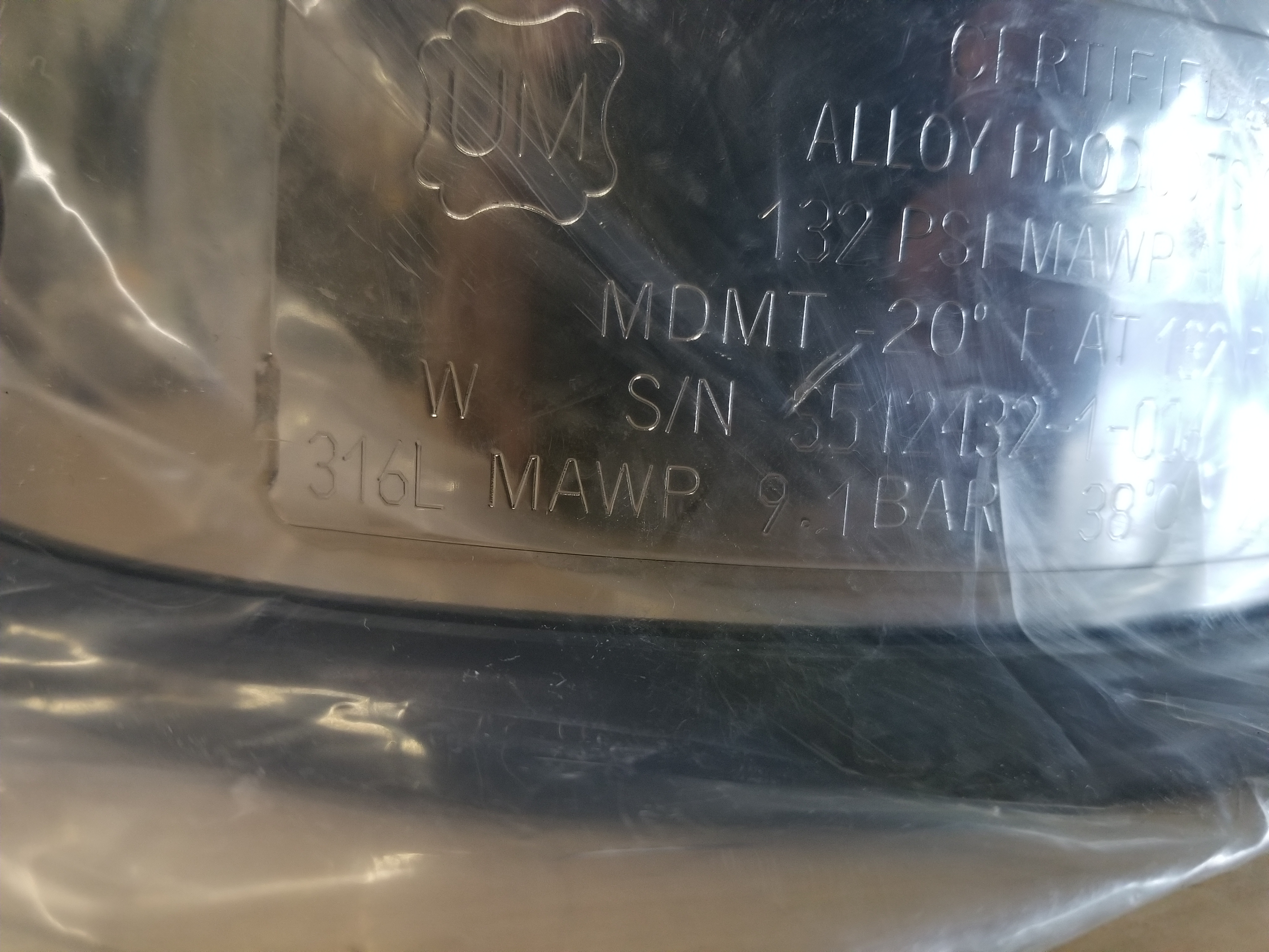 New Alloy Products 316L Stainless Steel Pressure Vessel - Image 9 of 12