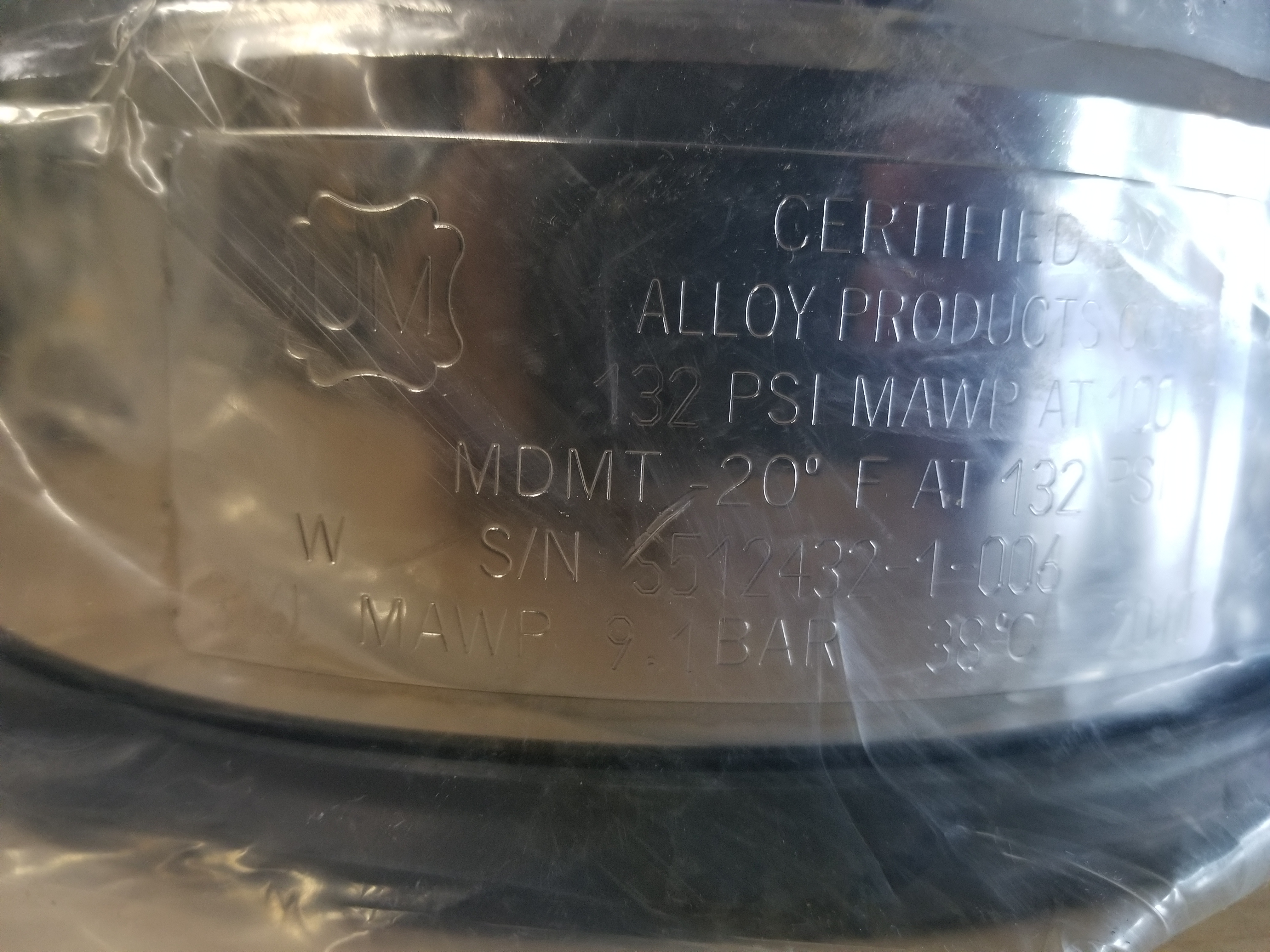 New Alloy Products 316L Stainless Steel Pressure Vessel - Image 10 of 12