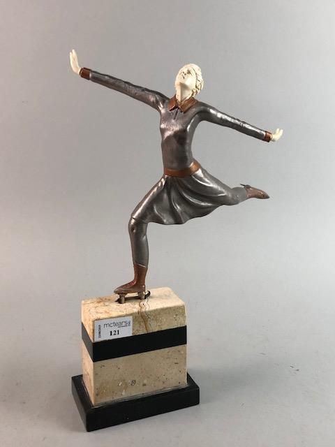 Lot 121 - AN ART DECO STYLE FIGURE OF AN ICE SKATER